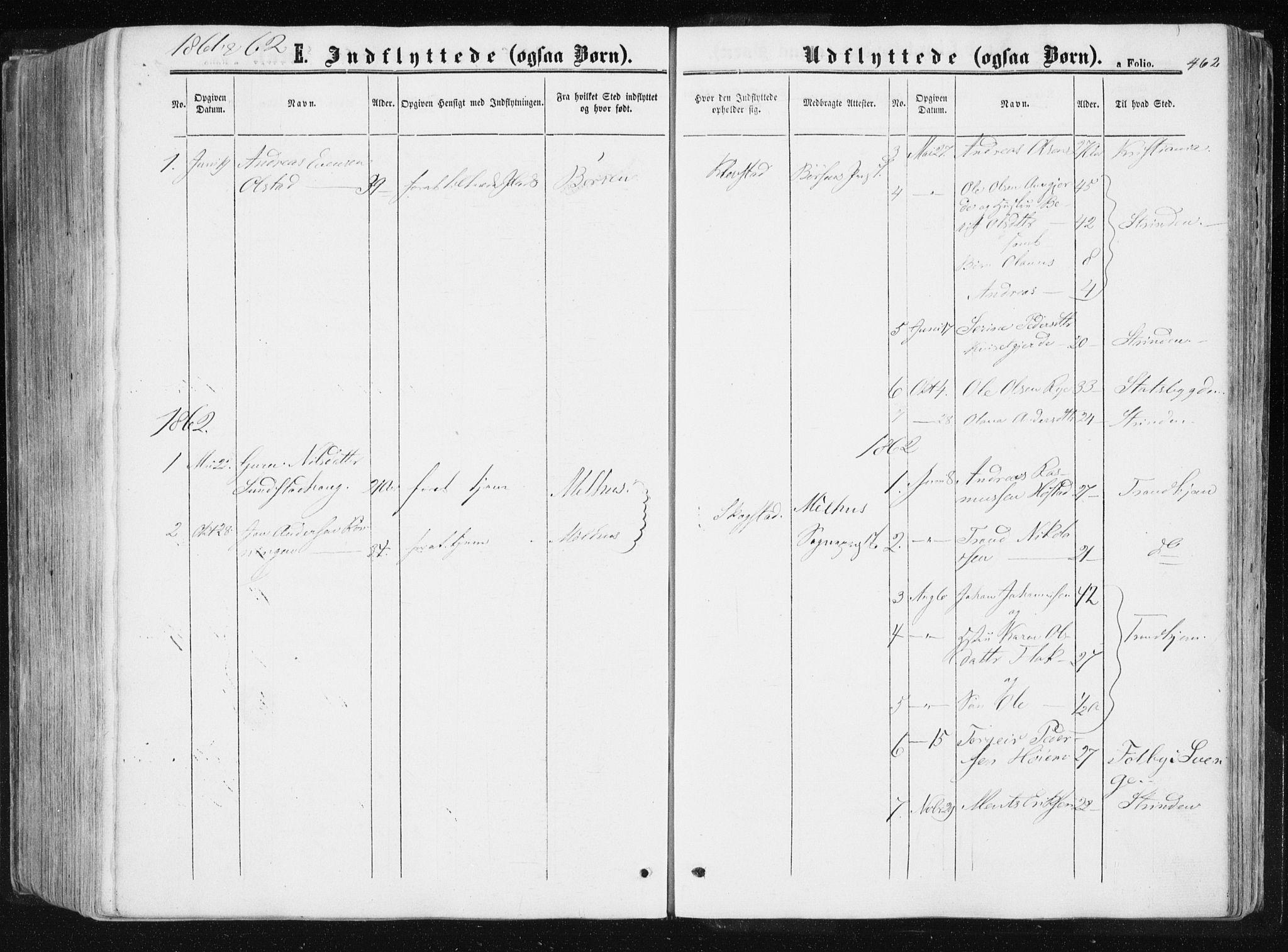 SAT, Ministerialprotokoller, klokkerbøker og fødselsregistre - Sør-Trøndelag, 612/L0377: Ministerialbok nr. 612A09, 1859-1877, s. 462