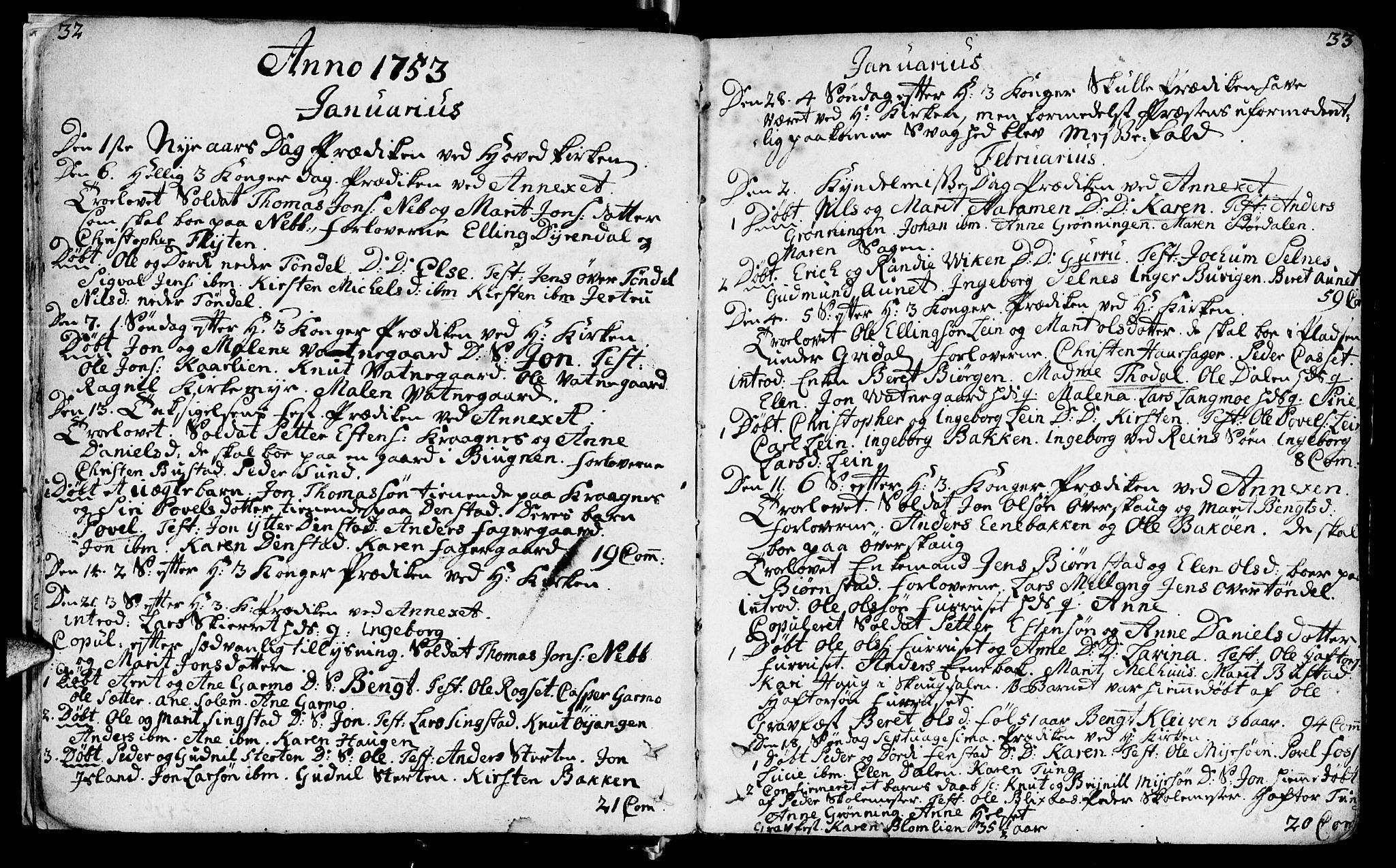 SAT, Ministerialprotokoller, klokkerbøker og fødselsregistre - Sør-Trøndelag, 646/L0605: Ministerialbok nr. 646A03, 1751-1790, s. 32-33