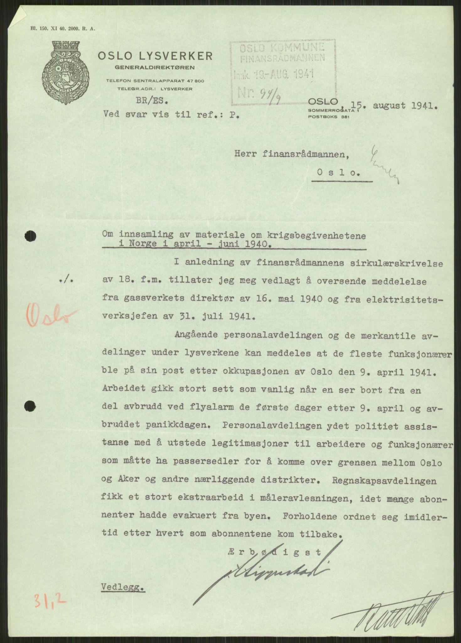 RA, Forsvaret, Forsvarets krigshistoriske avdeling, Y/Ya/L0013: II-C-11-31 - Fylkesmenn.  Rapporter om krigsbegivenhetene 1940., 1940, s. 544