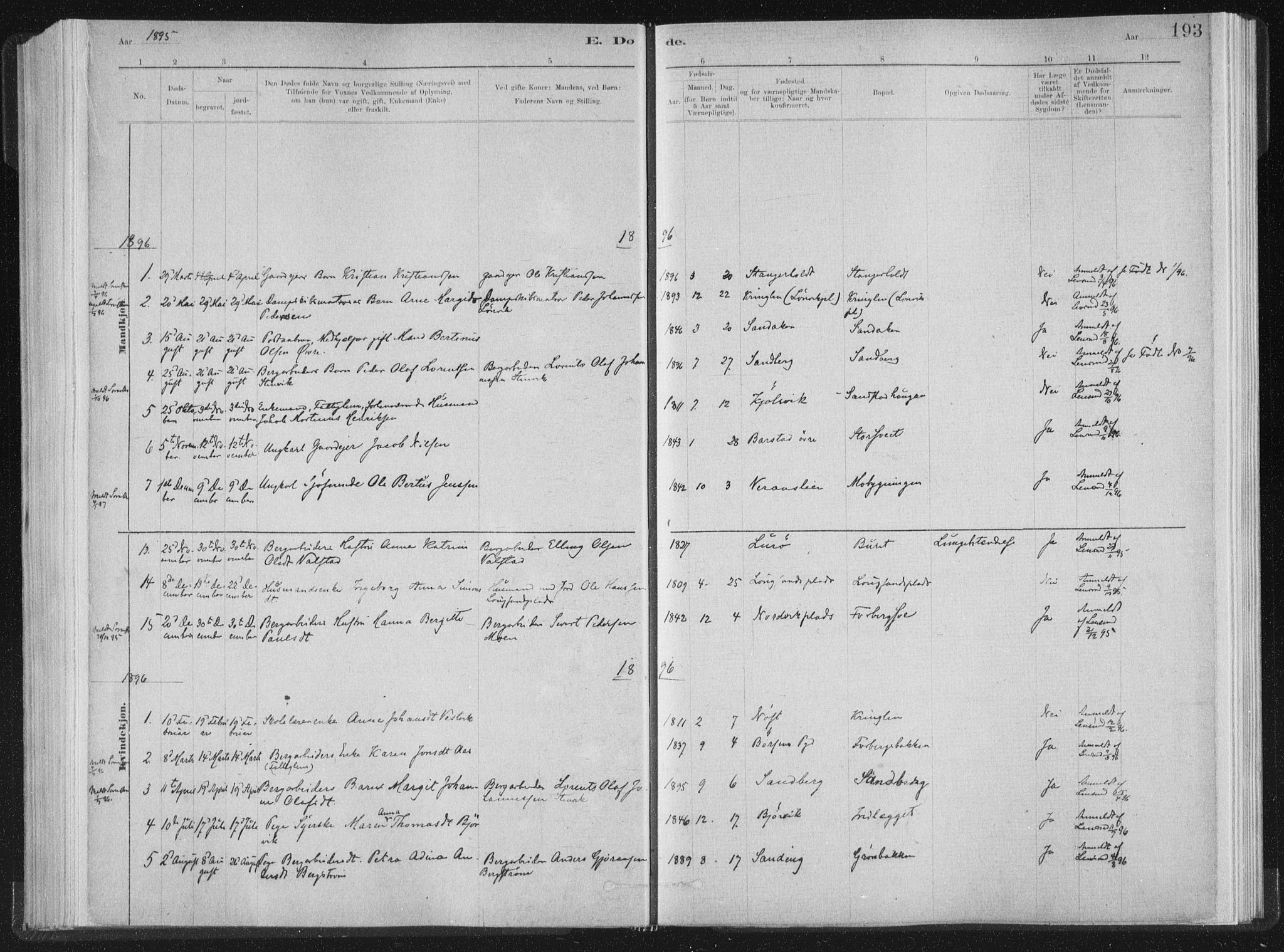 SAT, Ministerialprotokoller, klokkerbøker og fødselsregistre - Nord-Trøndelag, 722/L0220: Ministerialbok nr. 722A07, 1881-1908, s. 193