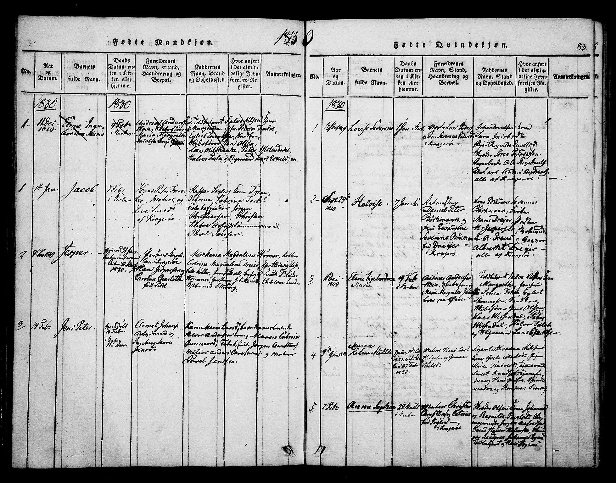 SAKO, Kragerø kirkebøker, F/Fa/L0004: Ministerialbok nr. 4, 1814-1831, s. 83
