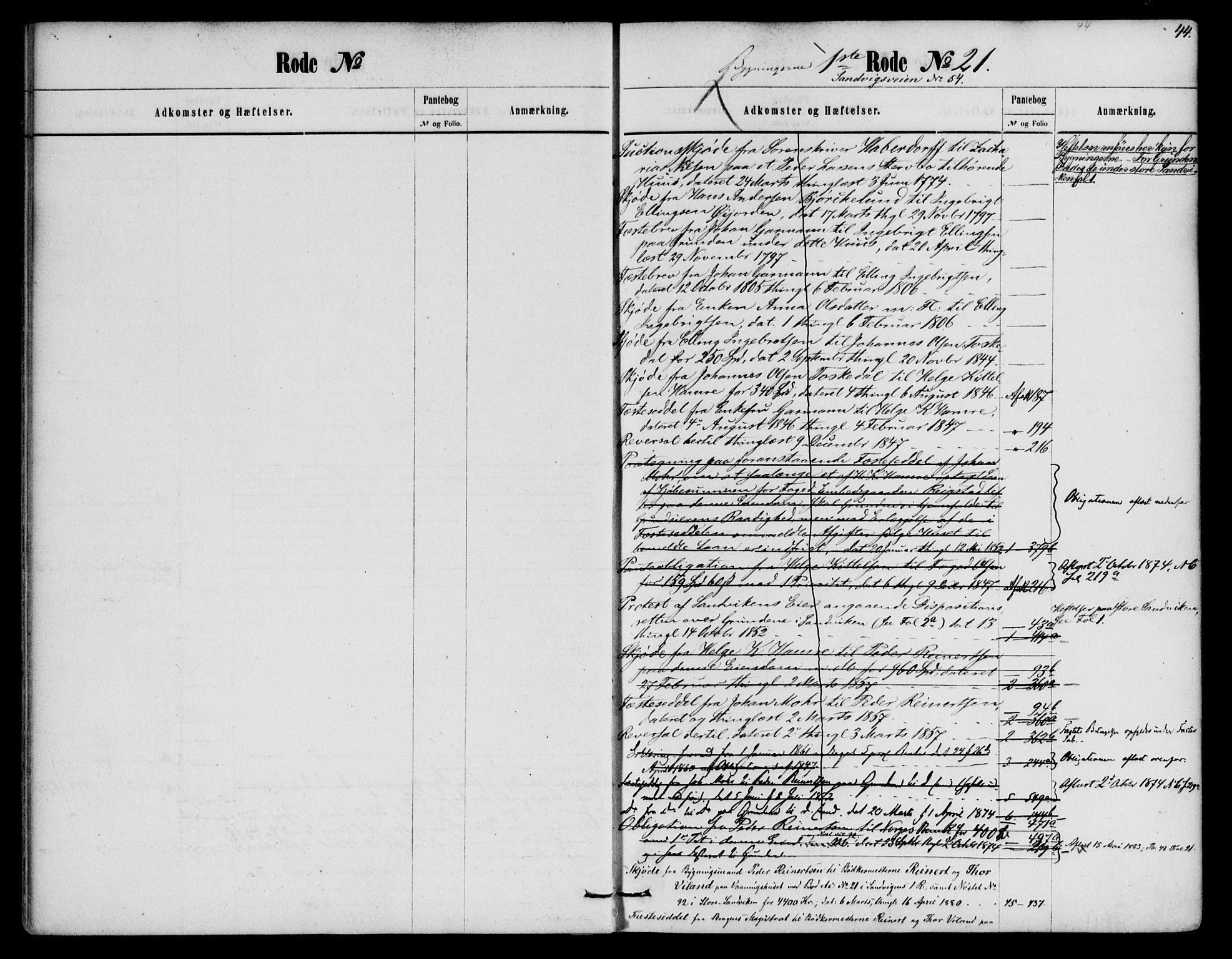 SAB, Byfogd og Byskriver i Bergen, 03/03AdC/L0019a: Panteregister nr. A.d.C.19, 1774-1861, s. 44