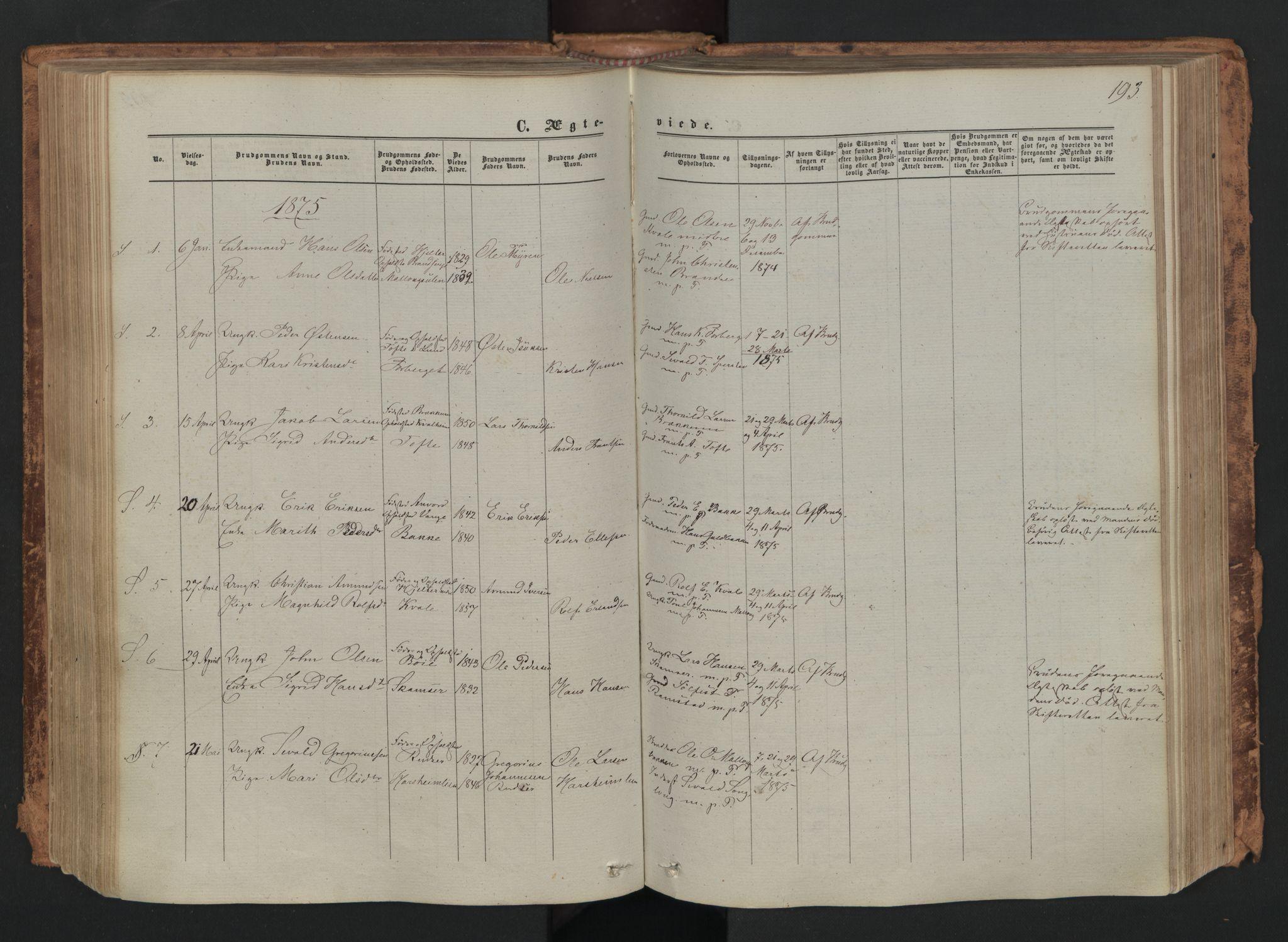 SAH, Skjåk prestekontor, Ministerialbok nr. 1, 1863-1879, s. 193