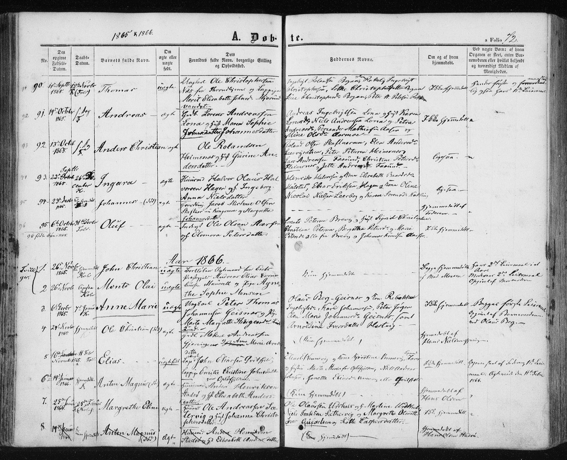 SAT, Ministerialprotokoller, klokkerbøker og fødselsregistre - Nord-Trøndelag, 780/L0641: Ministerialbok nr. 780A06, 1857-1874, s. 72
