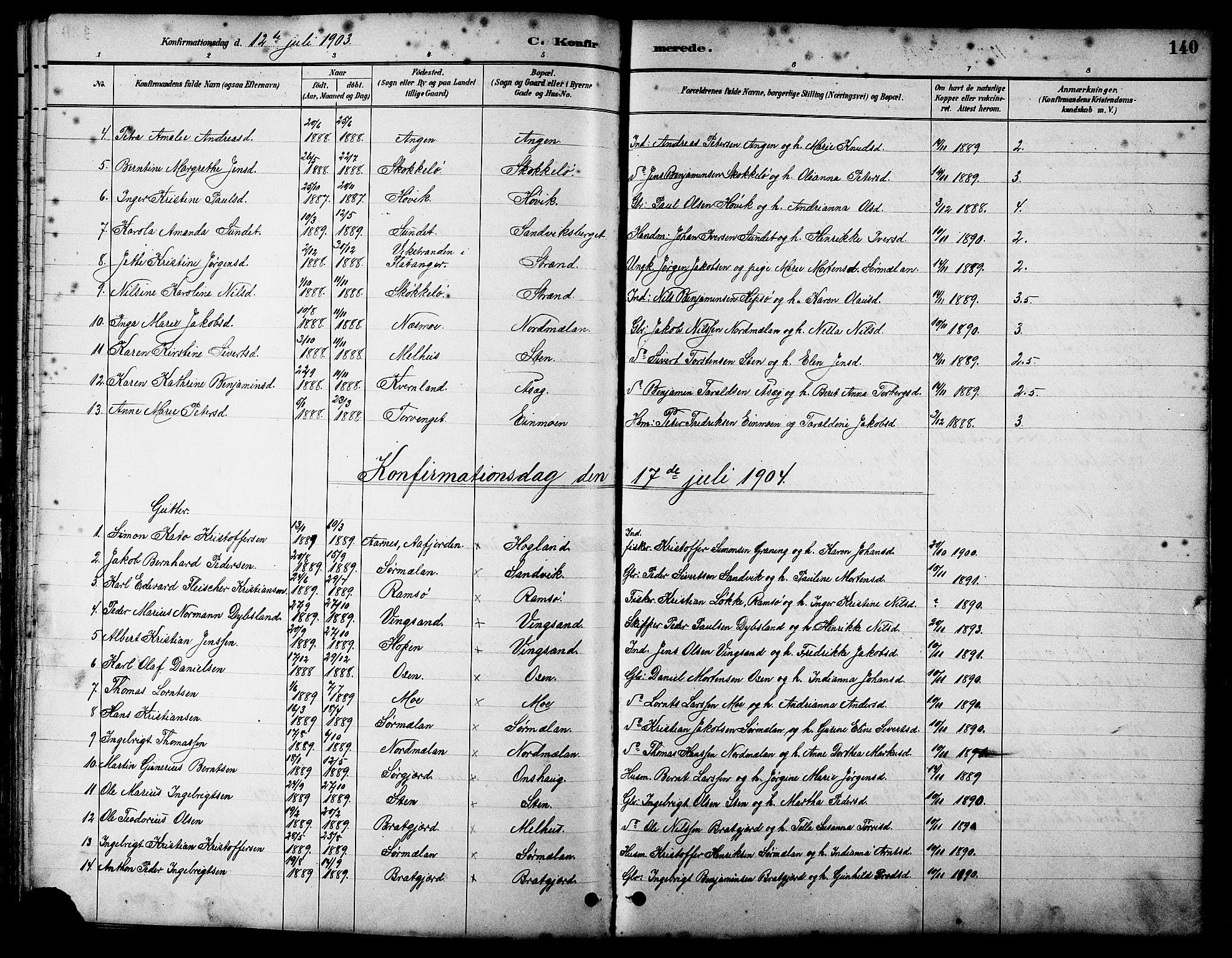 SAT, Ministerialprotokoller, klokkerbøker og fødselsregistre - Sør-Trøndelag, 658/L0726: Klokkerbok nr. 658C02, 1883-1908, s. 140