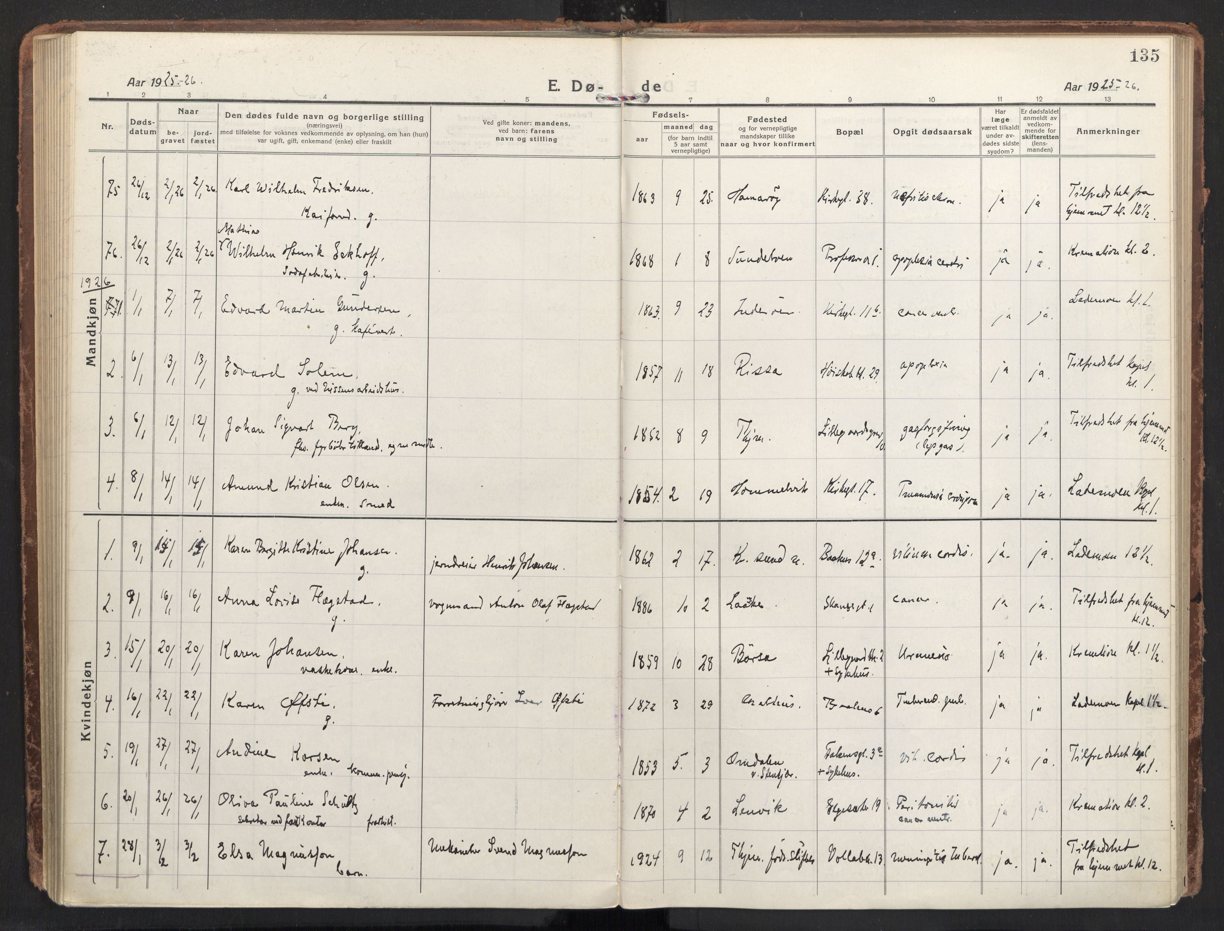 SAT, Ministerialprotokoller, klokkerbøker og fødselsregistre - Sør-Trøndelag, 604/L0207: Ministerialbok nr. 604A27, 1917-1933, s. 135