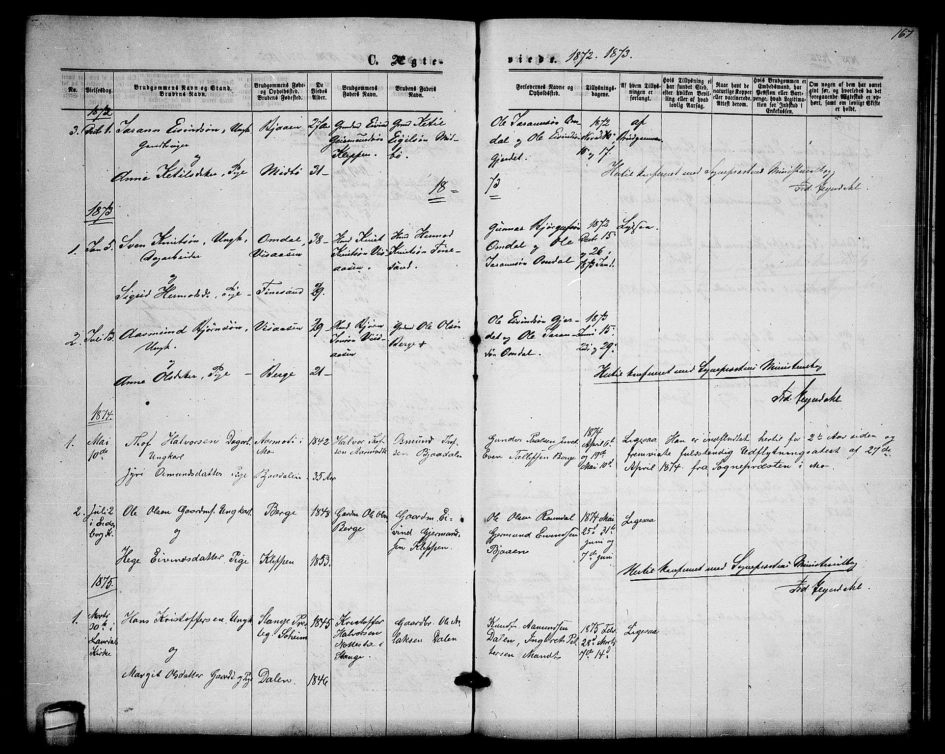 SAKO, Lårdal kirkebøker, G/Gb/L0002: Klokkerbok nr. II 2, 1865-1888, s. 167
