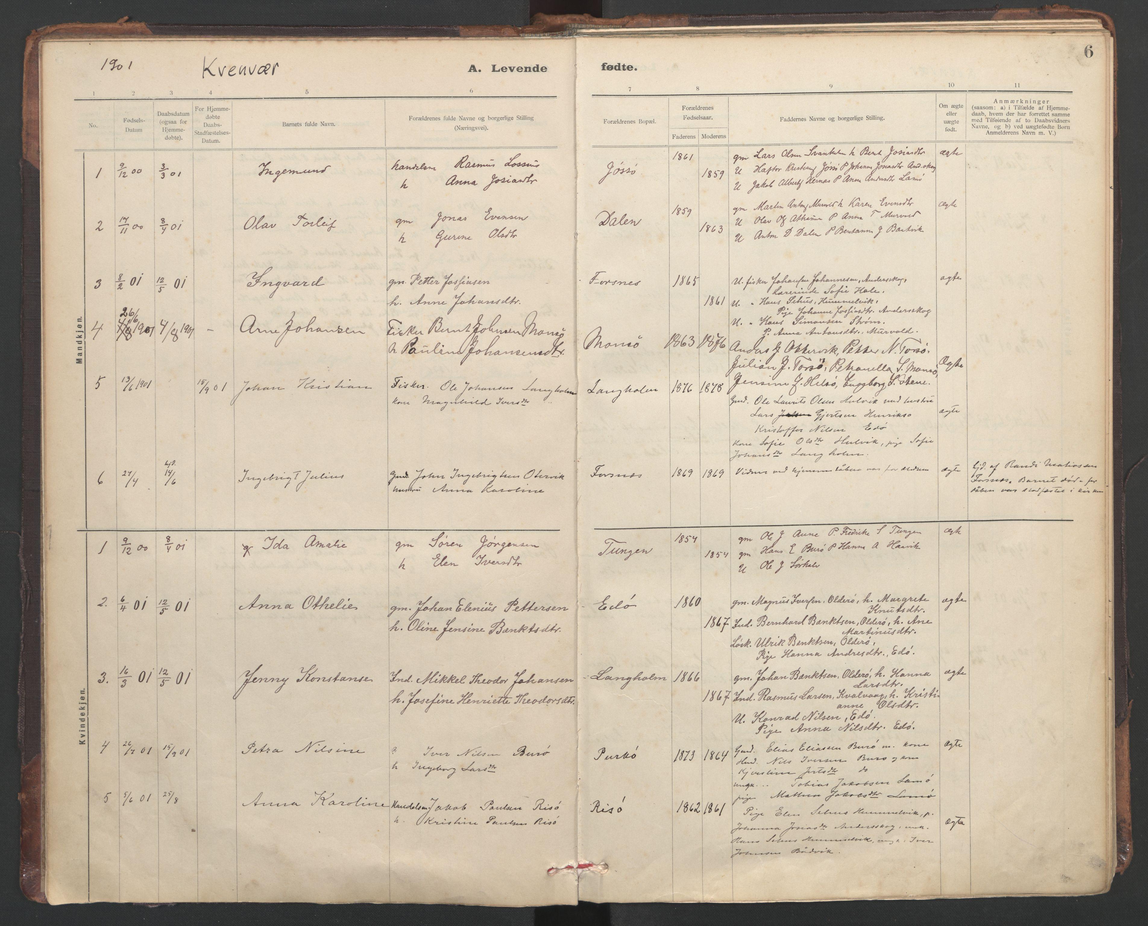 SAT, Ministerialprotokoller, klokkerbøker og fødselsregistre - Sør-Trøndelag, 635/L0552: Ministerialbok nr. 635A02, 1899-1919, s. 6