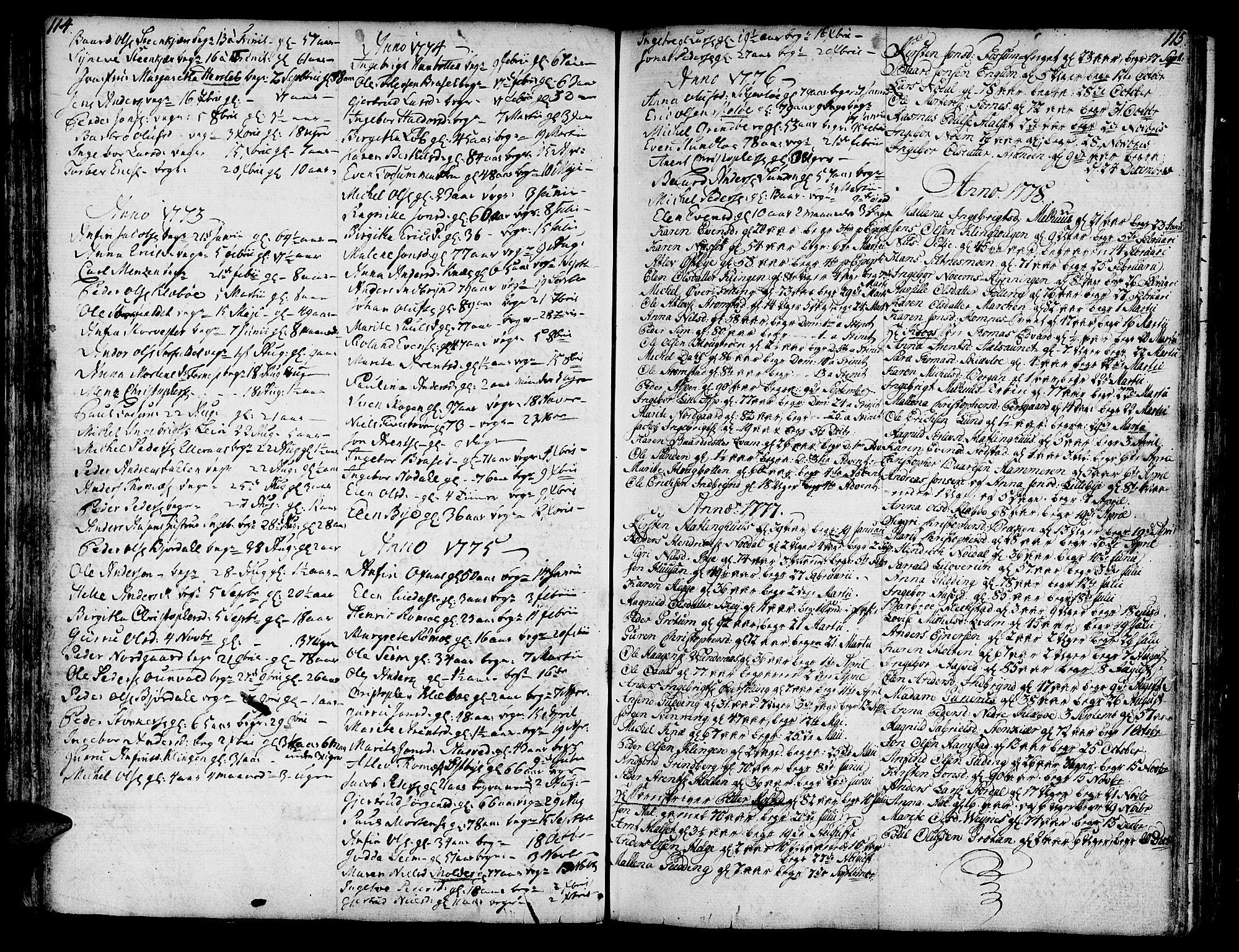 SAT, Ministerialprotokoller, klokkerbøker og fødselsregistre - Nord-Trøndelag, 746/L0440: Ministerialbok nr. 746A02, 1760-1815, s. 114-115