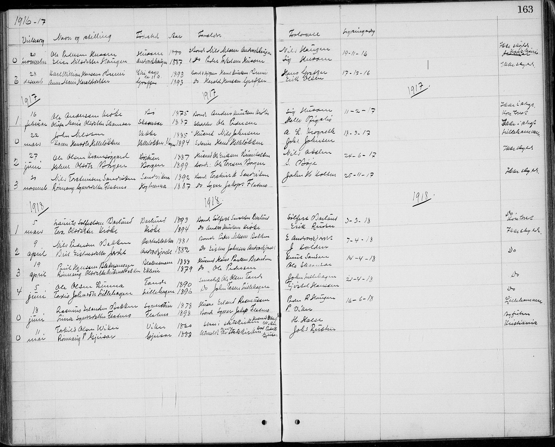 SAH, Lom prestekontor, L/L0013: Klokkerbok nr. 13, 1874-1938, s. 163