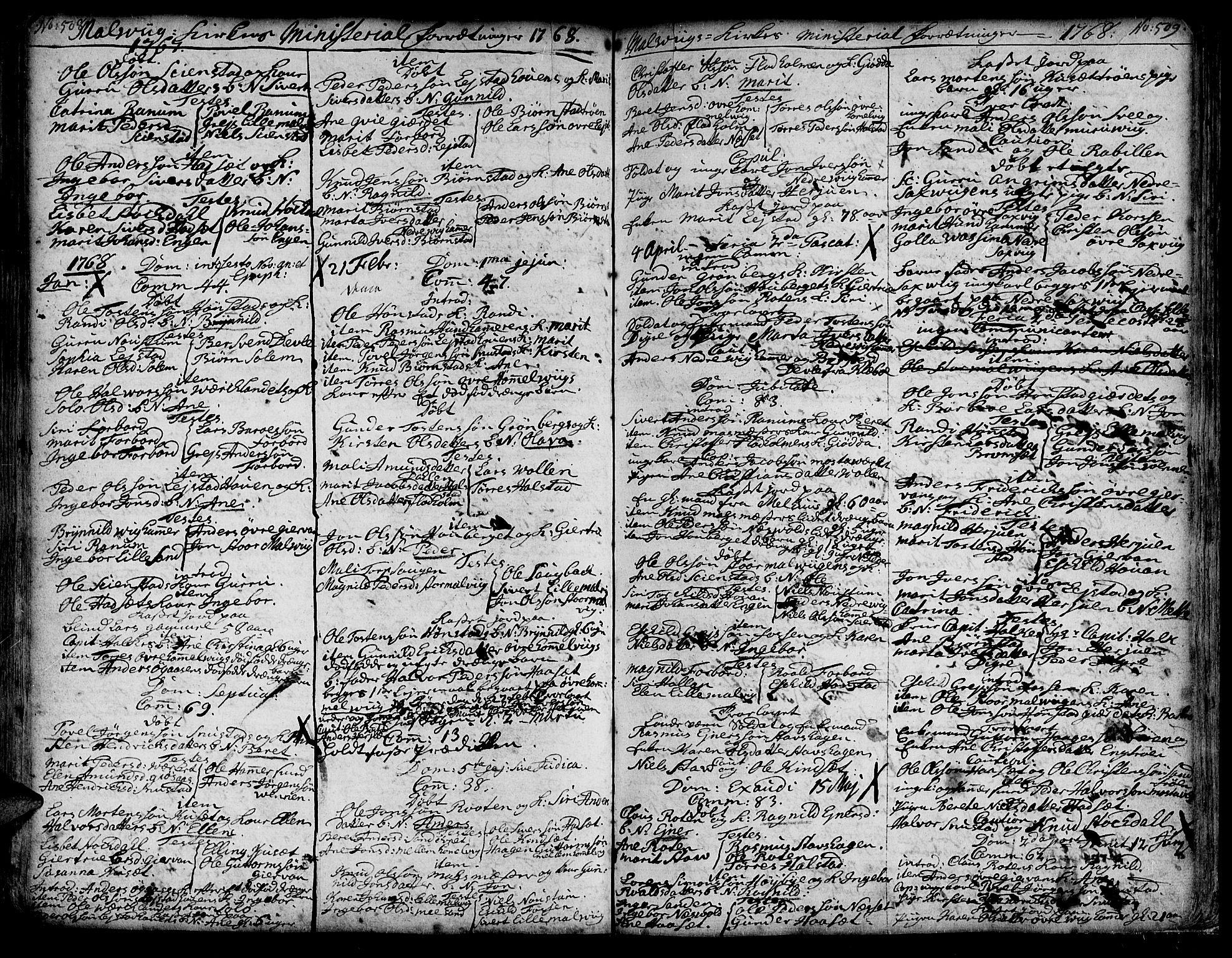 SAT, Ministerialprotokoller, klokkerbøker og fødselsregistre - Sør-Trøndelag, 606/L0277: Ministerialbok nr. 606A01 /3, 1727-1780, s. 508-509