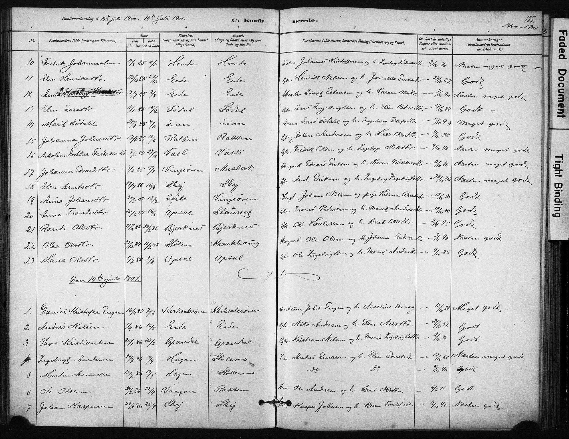 SAT, Ministerialprotokoller, klokkerbøker og fødselsregistre - Sør-Trøndelag, 631/L0512: Ministerialbok nr. 631A01, 1879-1912, s. 125