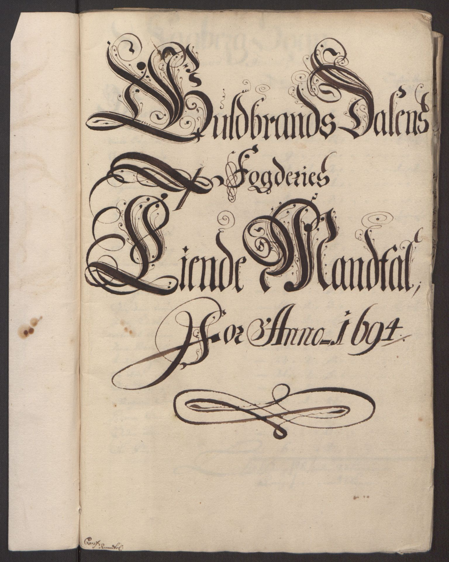 RA, Rentekammeret inntil 1814, Reviderte regnskaper, Fogderegnskap, R17/L1168: Fogderegnskap Gudbrandsdal, 1694, s. 229