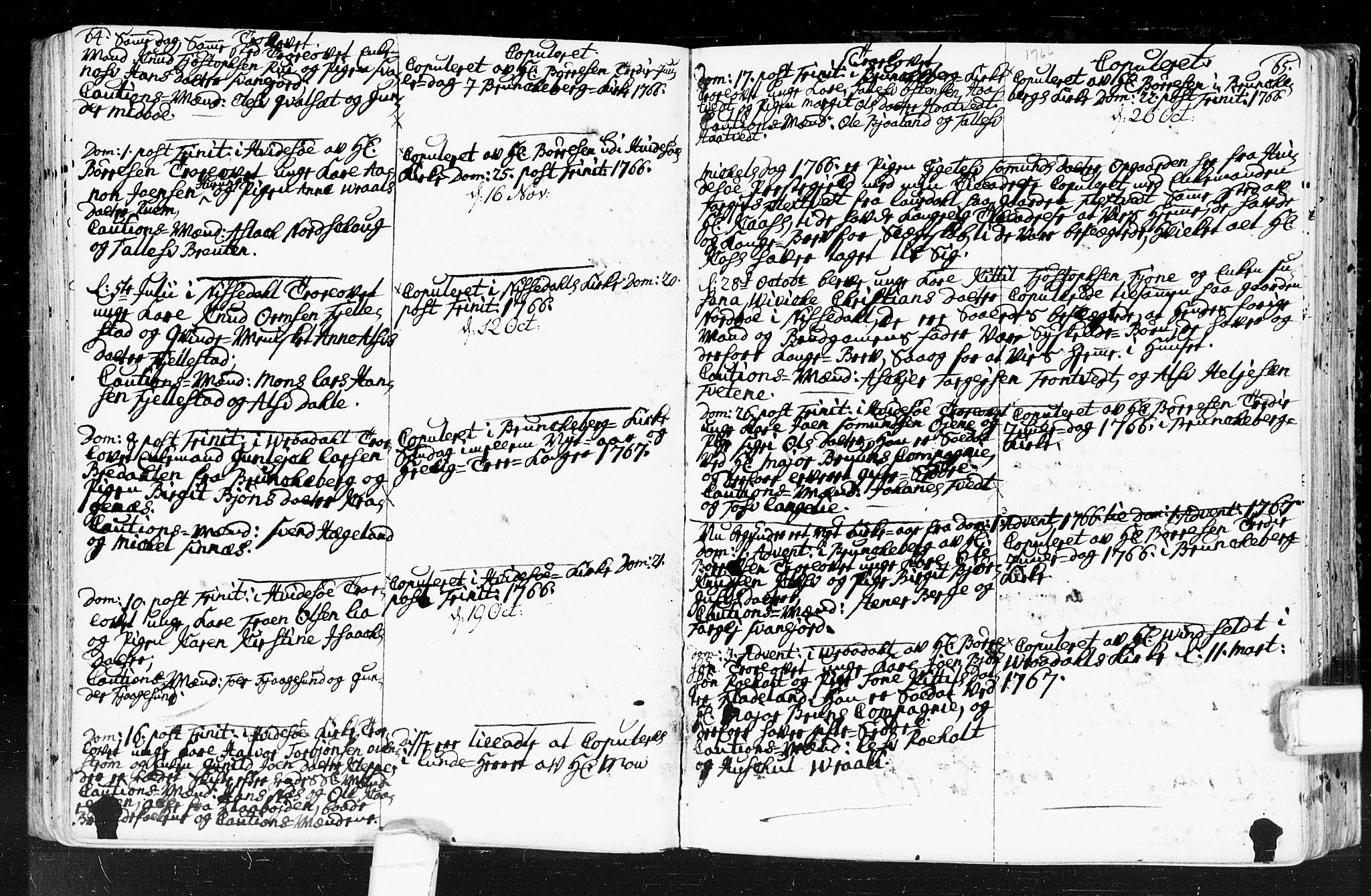 SAKO, Kviteseid kirkebøker, F/Fa/L0001: Ministerialbok nr. I 1, 1754-1773, s. 64-65