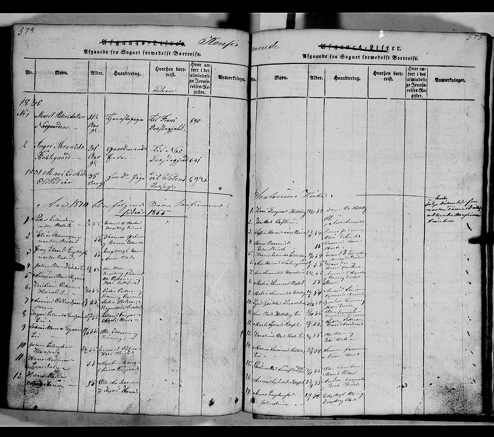 SAH, Gausdal prestekontor, Klokkerbok nr. 2, 1818-1874, s. 574-575
