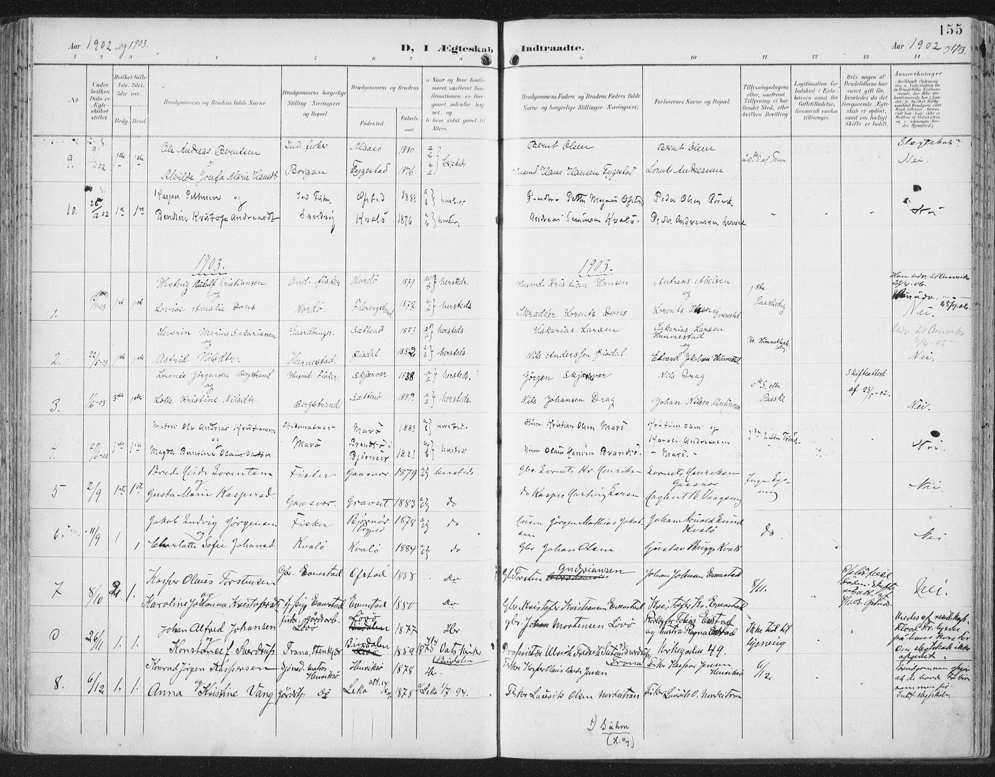 SAT, Ministerialprotokoller, klokkerbøker og fødselsregistre - Nord-Trøndelag, 786/L0688: Ministerialbok nr. 786A04, 1899-1912, s. 155