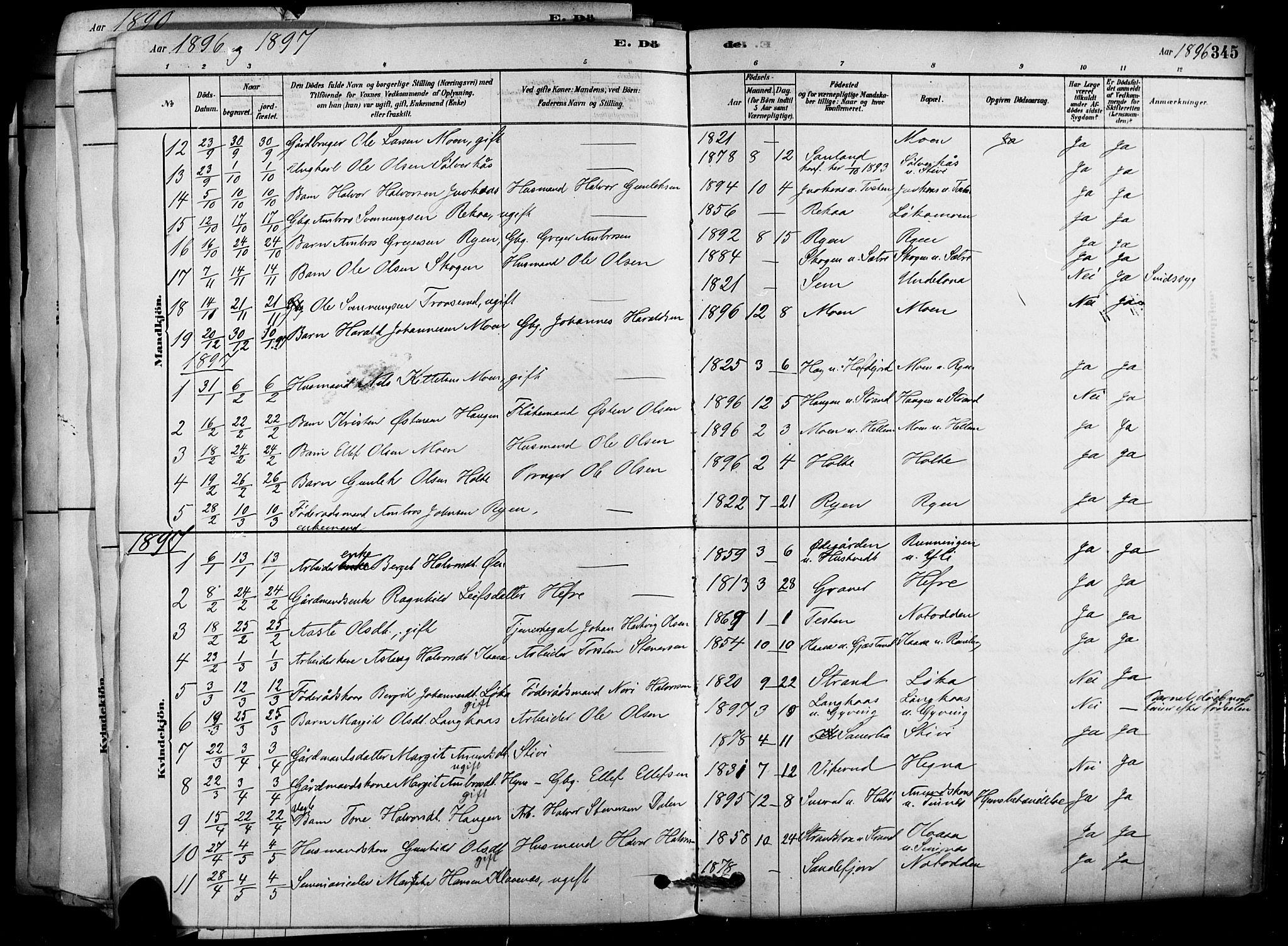 SAKO, Heddal kirkebøker, F/Fa/L0008: Ministerialbok nr. I 8, 1878-1903, s. 345