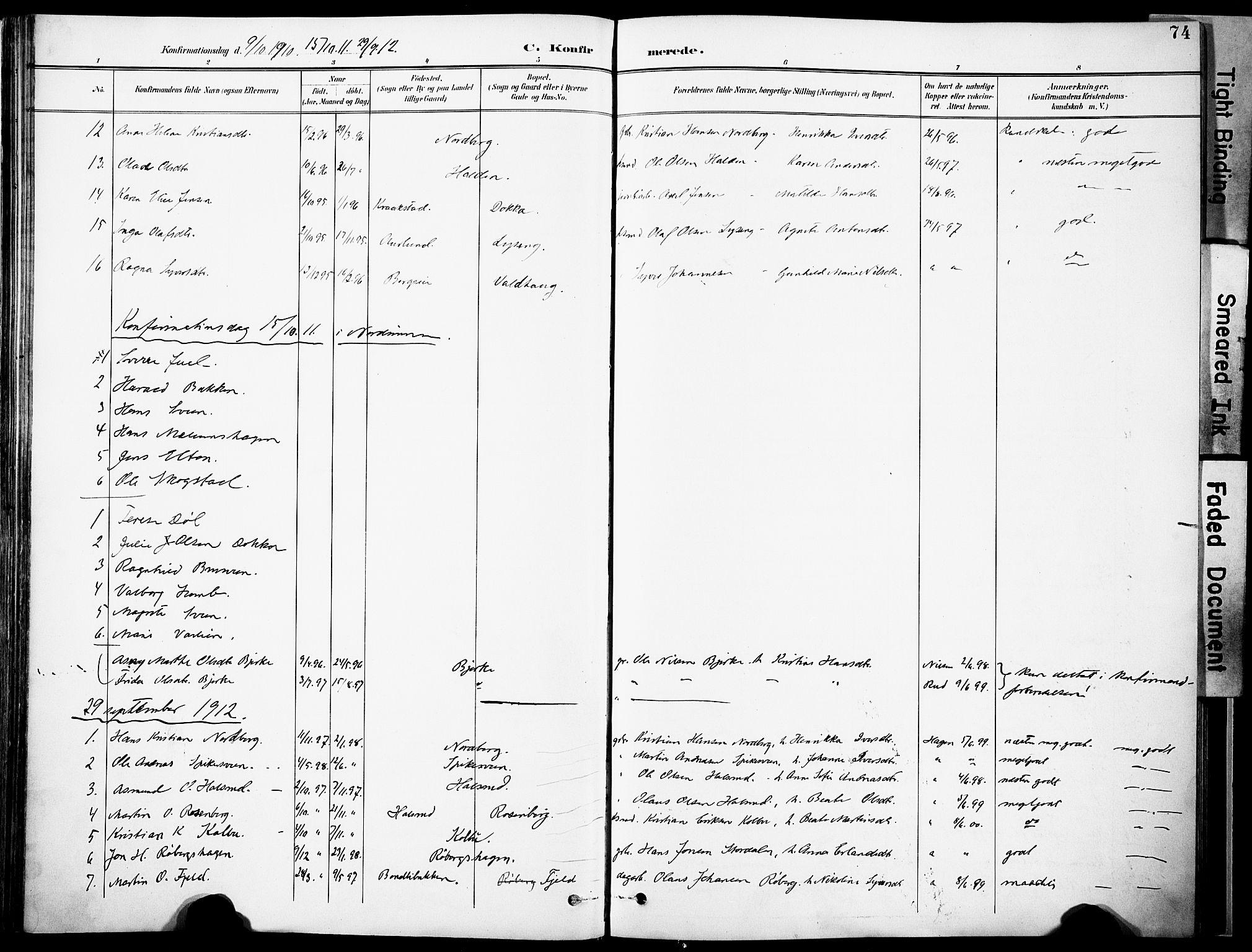 SAH, Nordre Land prestekontor, Ministerialbok nr. 6, 1897-1914, s. 74