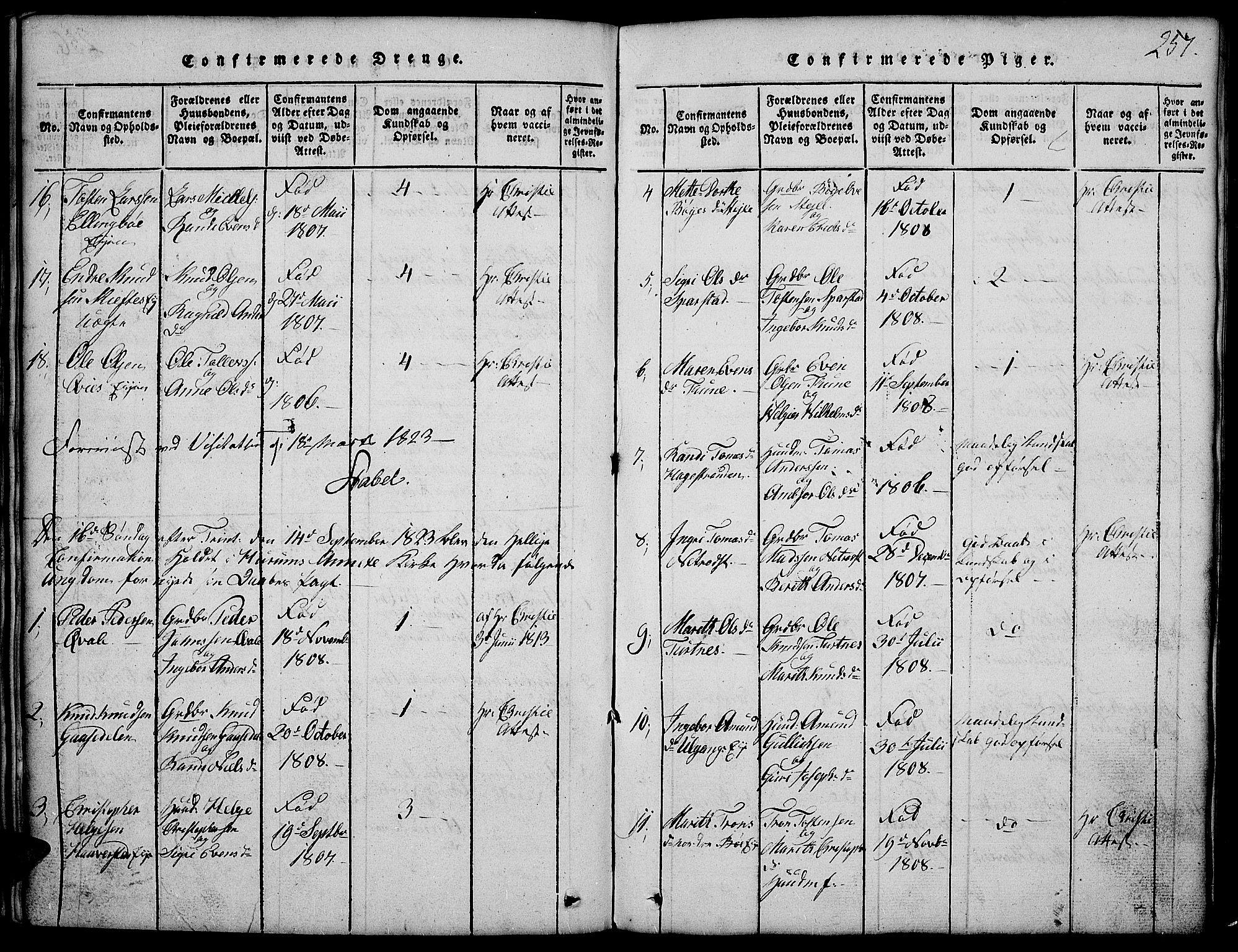 SAH, Vang prestekontor, Valdres, Klokkerbok nr. 2, 1814-1889, s. 257