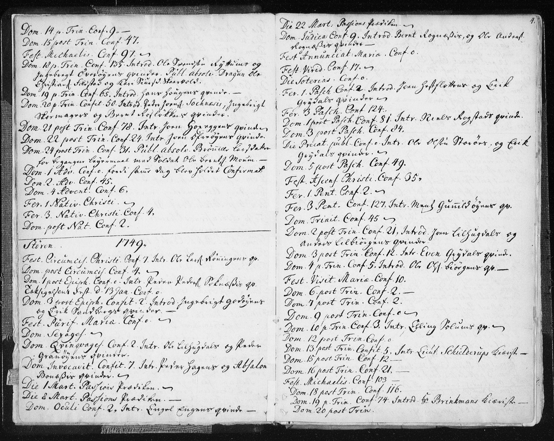 SAT, Ministerialprotokoller, klokkerbøker og fødselsregistre - Sør-Trøndelag, 687/L0991: Ministerialbok nr. 687A02, 1747-1790, s. 4