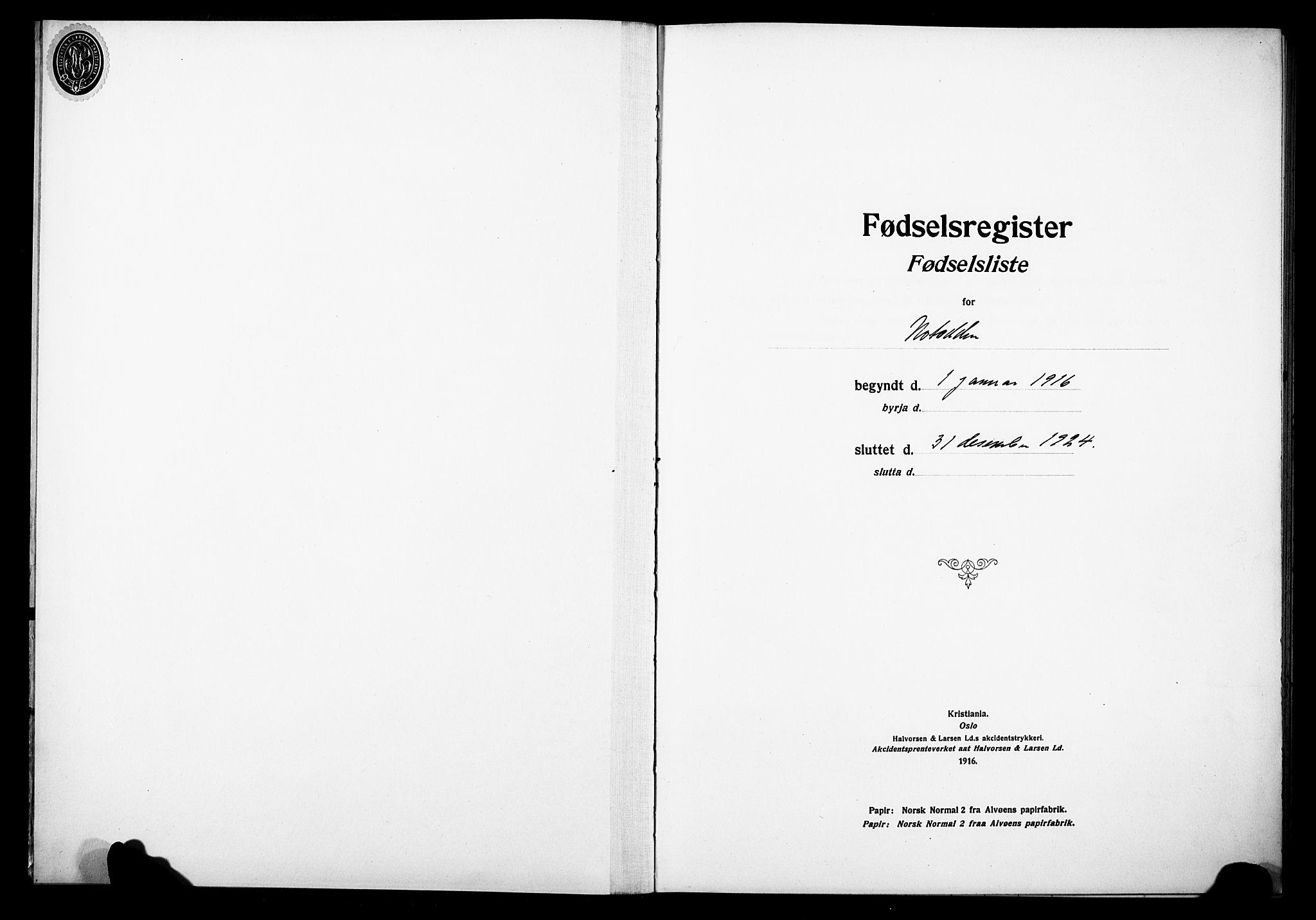 SAKO, Notodden kirkebøker, J/Ja/L0001: Fødselsregister nr. 1, 1916-1924