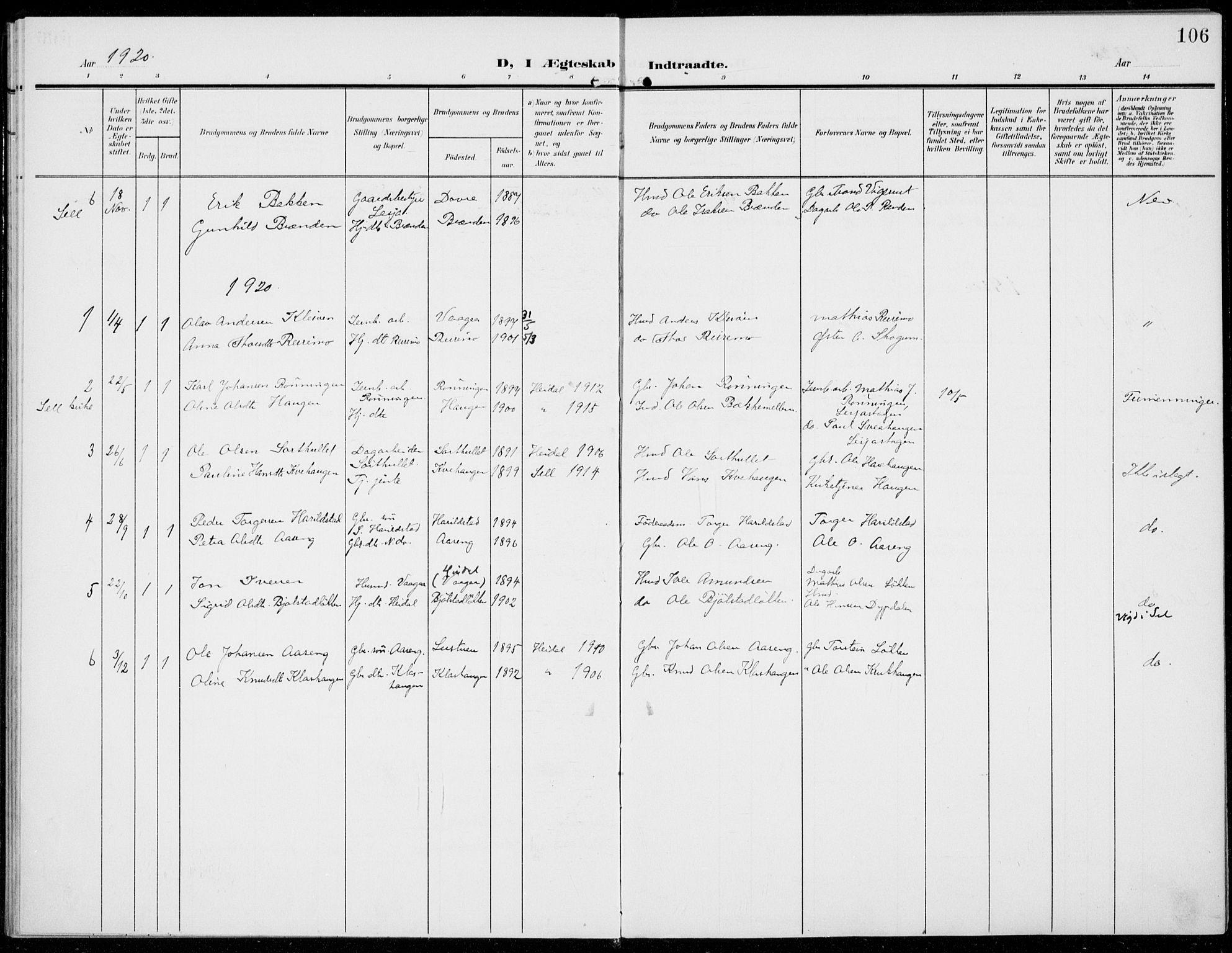 SAH, Sel prestekontor, Ministerialbok nr. 1, 1905-1922, s. 106
