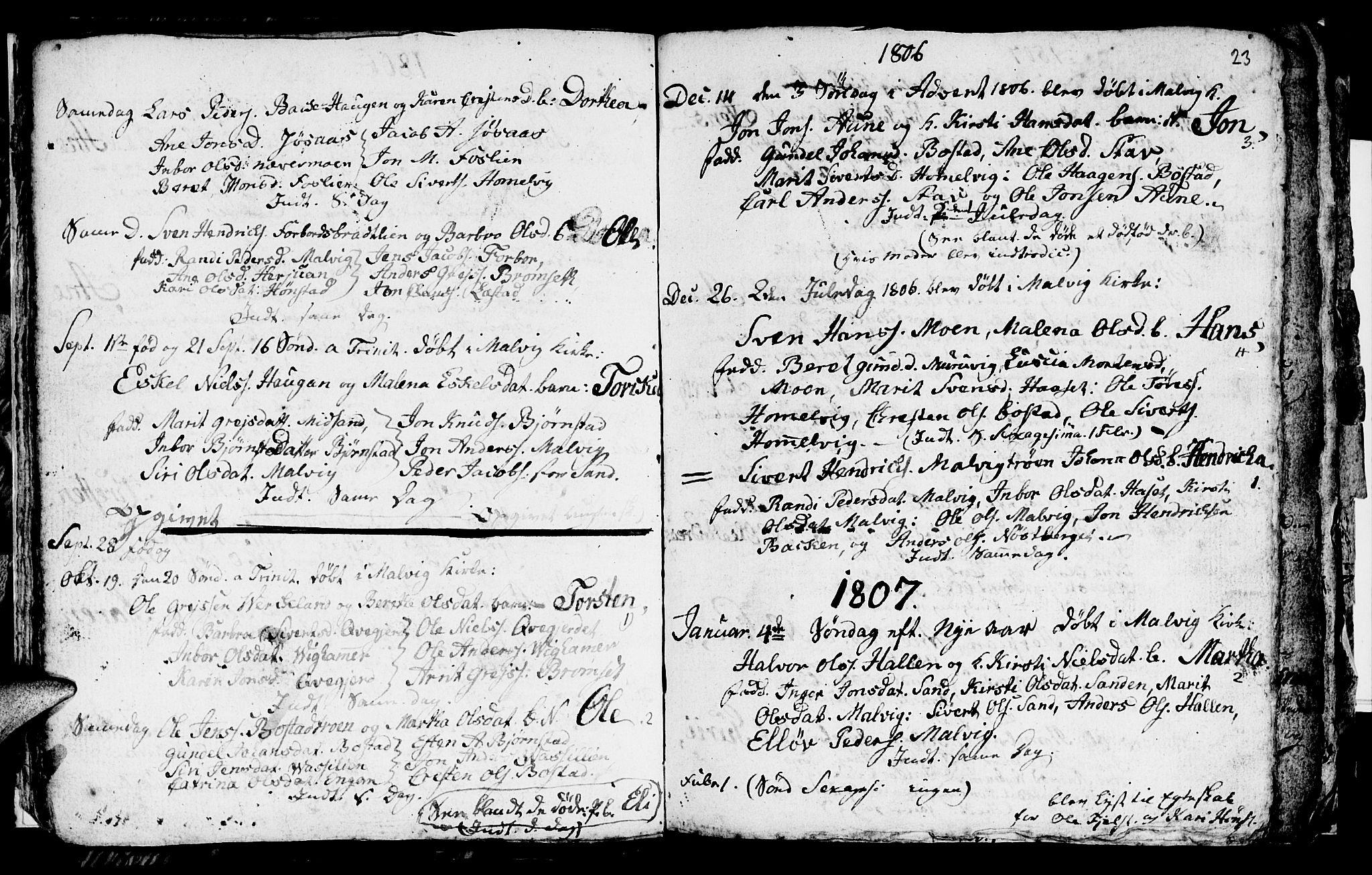 SAT, Ministerialprotokoller, klokkerbøker og fødselsregistre - Sør-Trøndelag, 616/L0419: Klokkerbok nr. 616C02, 1797-1816, s. 23