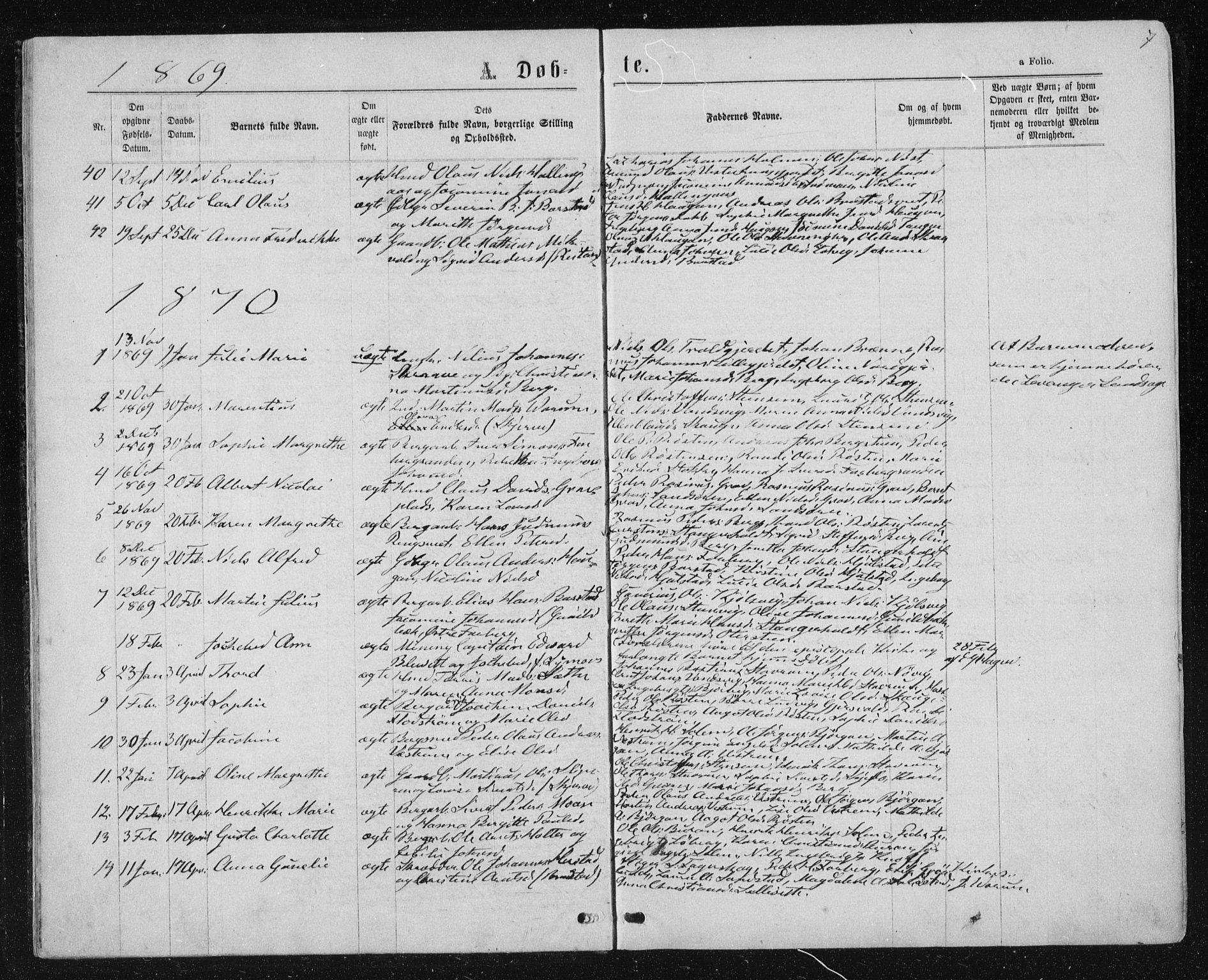 SAT, Ministerialprotokoller, klokkerbøker og fødselsregistre - Nord-Trøndelag, 722/L0219: Ministerialbok nr. 722A06, 1868-1880, s. 7