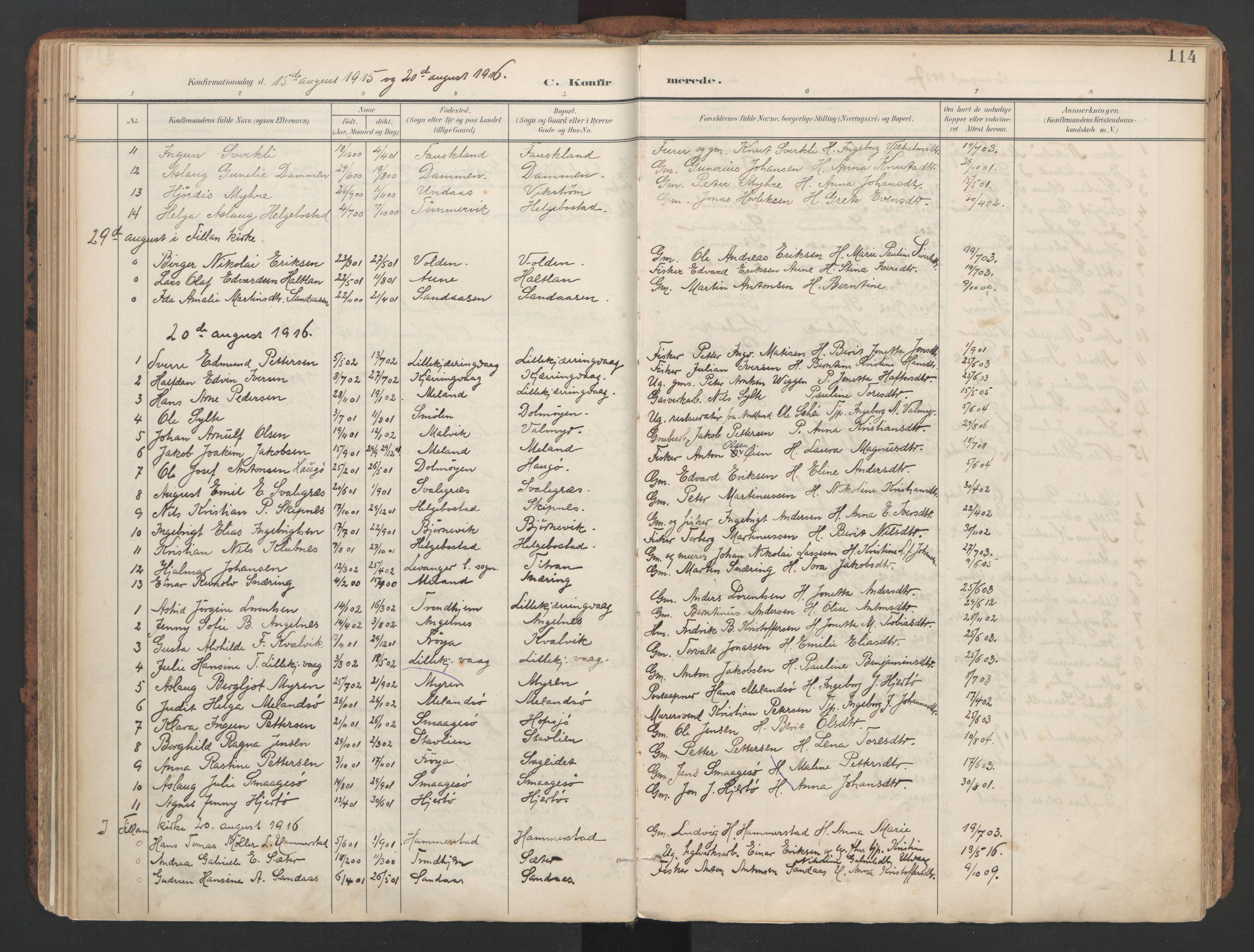 SAT, Ministerialprotokoller, klokkerbøker og fødselsregistre - Sør-Trøndelag, 634/L0537: Ministerialbok nr. 634A13, 1896-1922, s. 114