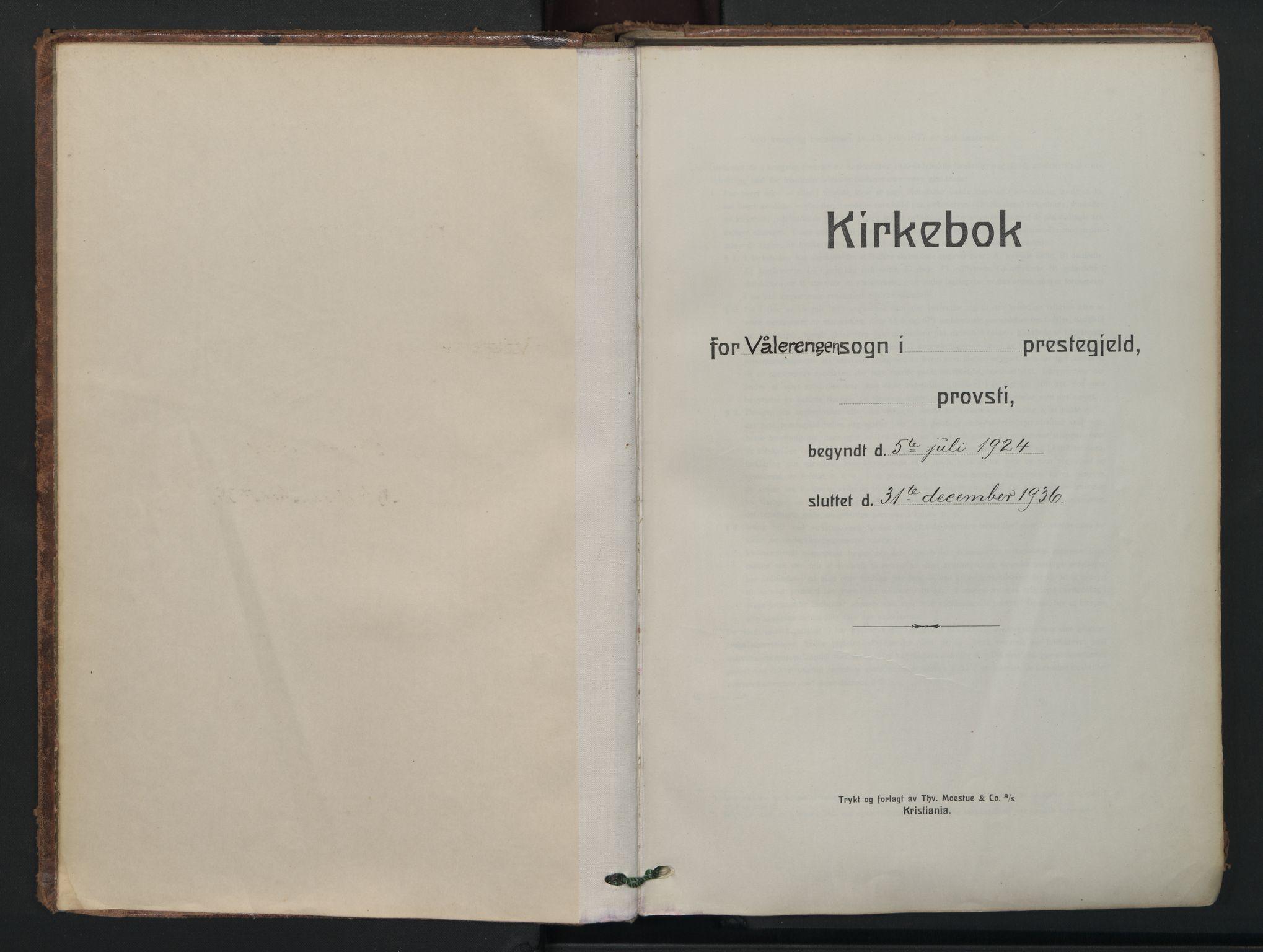 SAO, Vålerengen prestekontor Kirkebøker, F/Fa/L0005: Ministerialbok nr. 5, 1924-1936