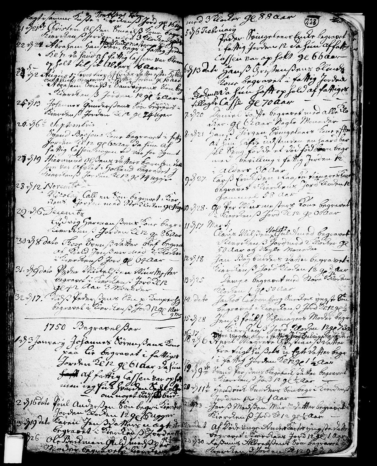 SAKO, Skien kirkebøker, F/Fa/L0002: Ministerialbok nr. 2, 1716-1757, s. 228