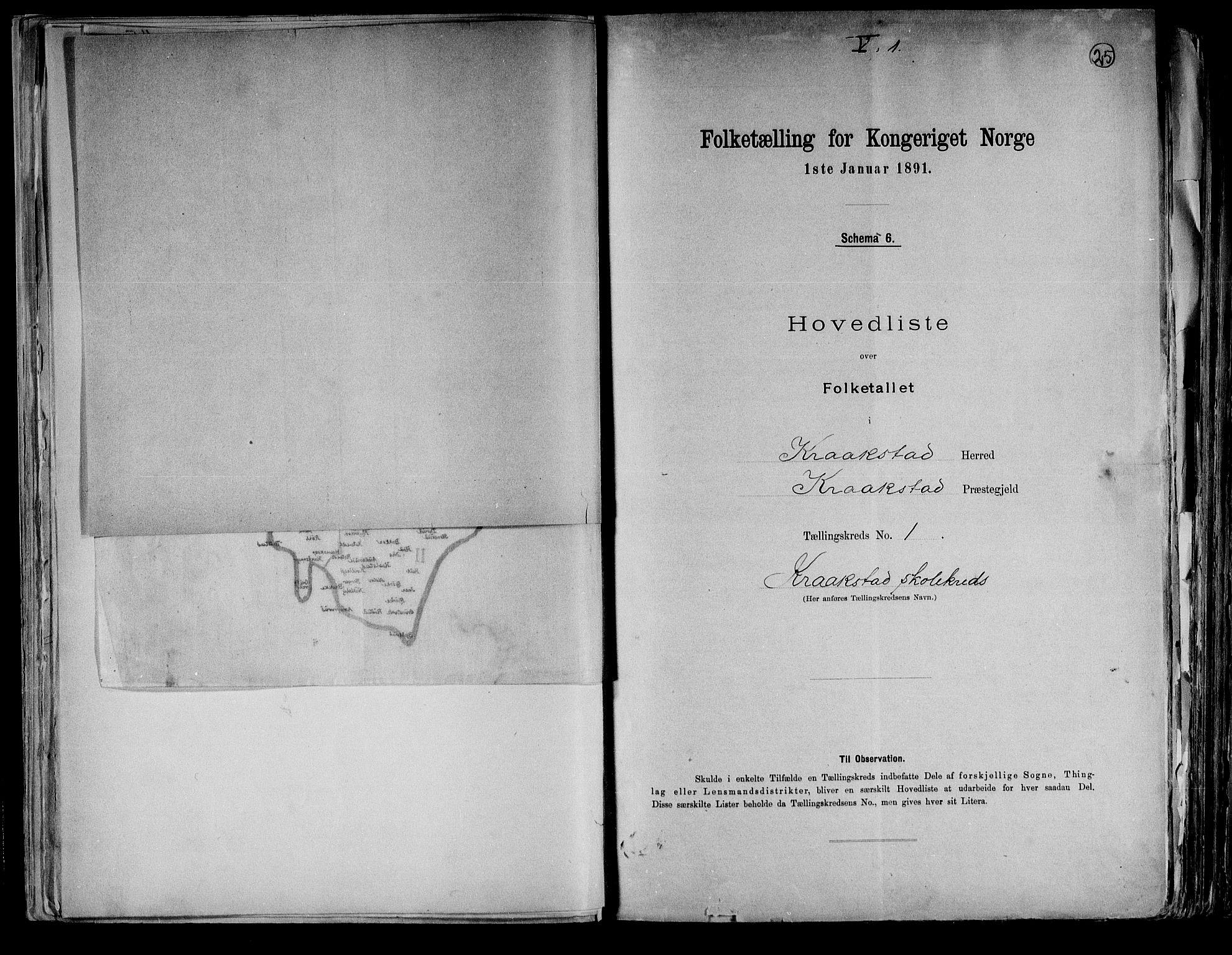 RA, Folketelling 1891 for 0212 Kråkstad herred, 1891, s. 6