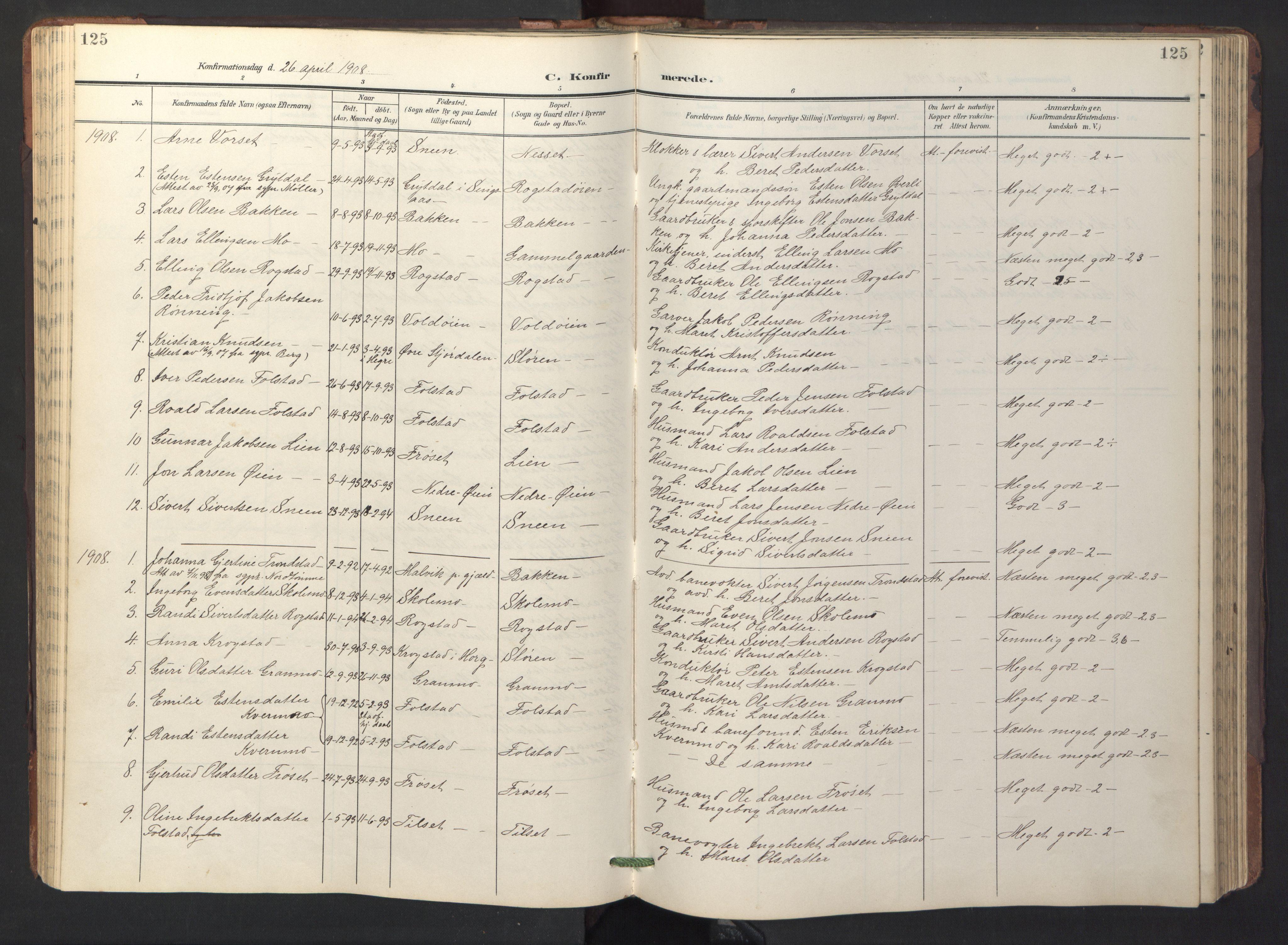 SAT, Ministerialprotokoller, klokkerbøker og fødselsregistre - Sør-Trøndelag, 687/L1019: Klokkerbok nr. 687C03, 1904-1931, s. 125