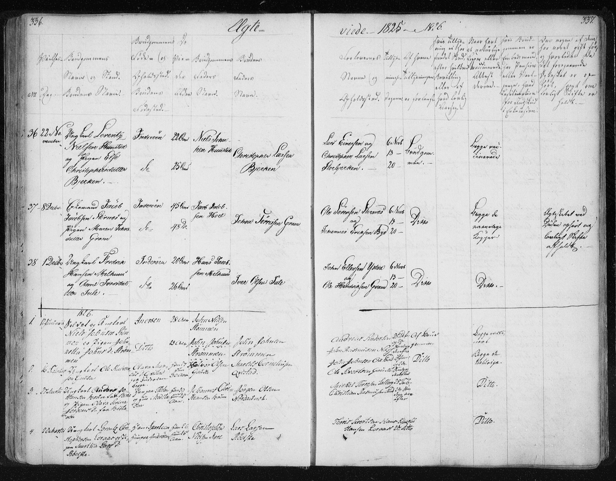 SAT, Ministerialprotokoller, klokkerbøker og fødselsregistre - Nord-Trøndelag, 730/L0276: Ministerialbok nr. 730A05, 1822-1830, s. 336-337