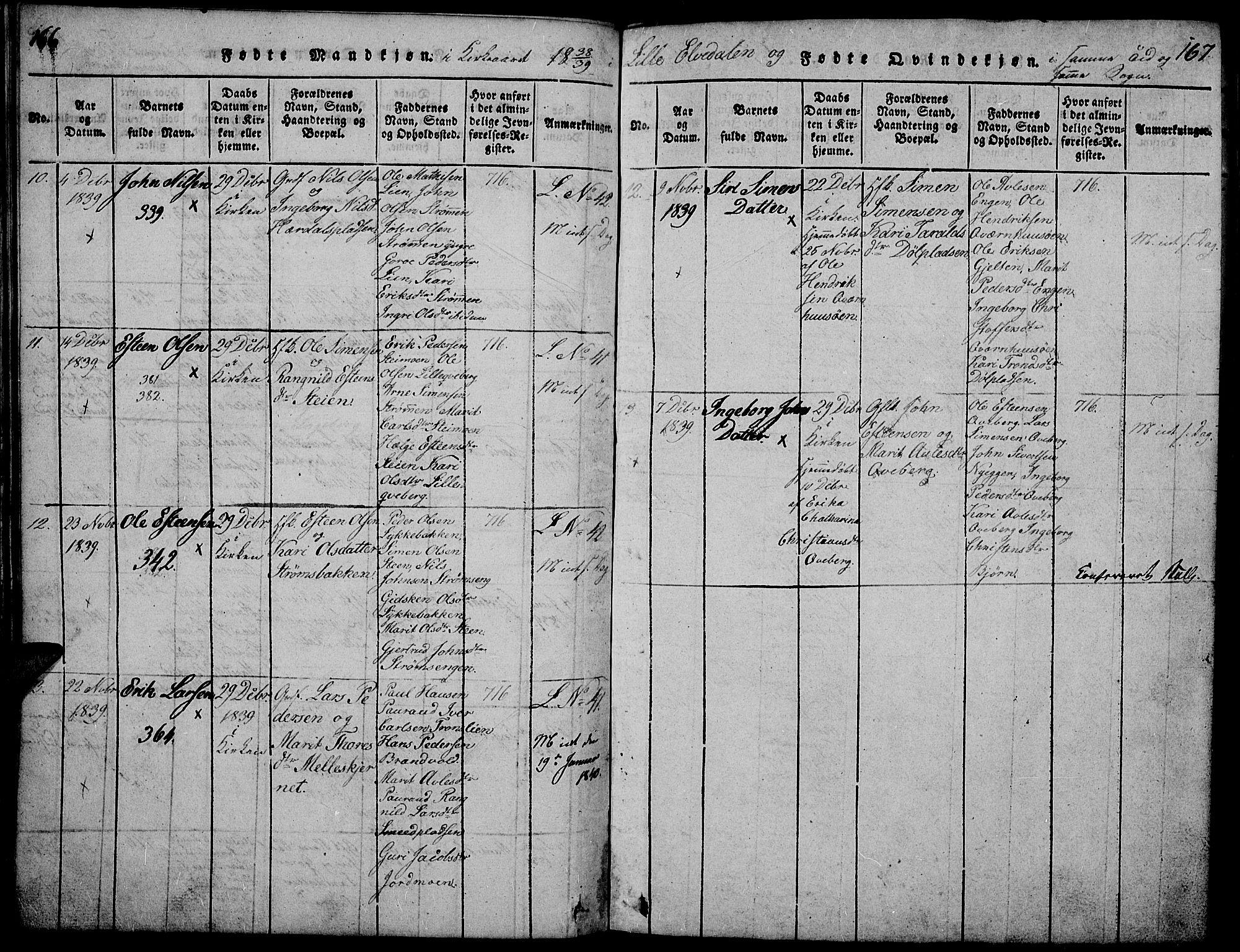 SAH, Tynset prestekontor, Klokkerbok nr. 2, 1814-1862, s. 166-167