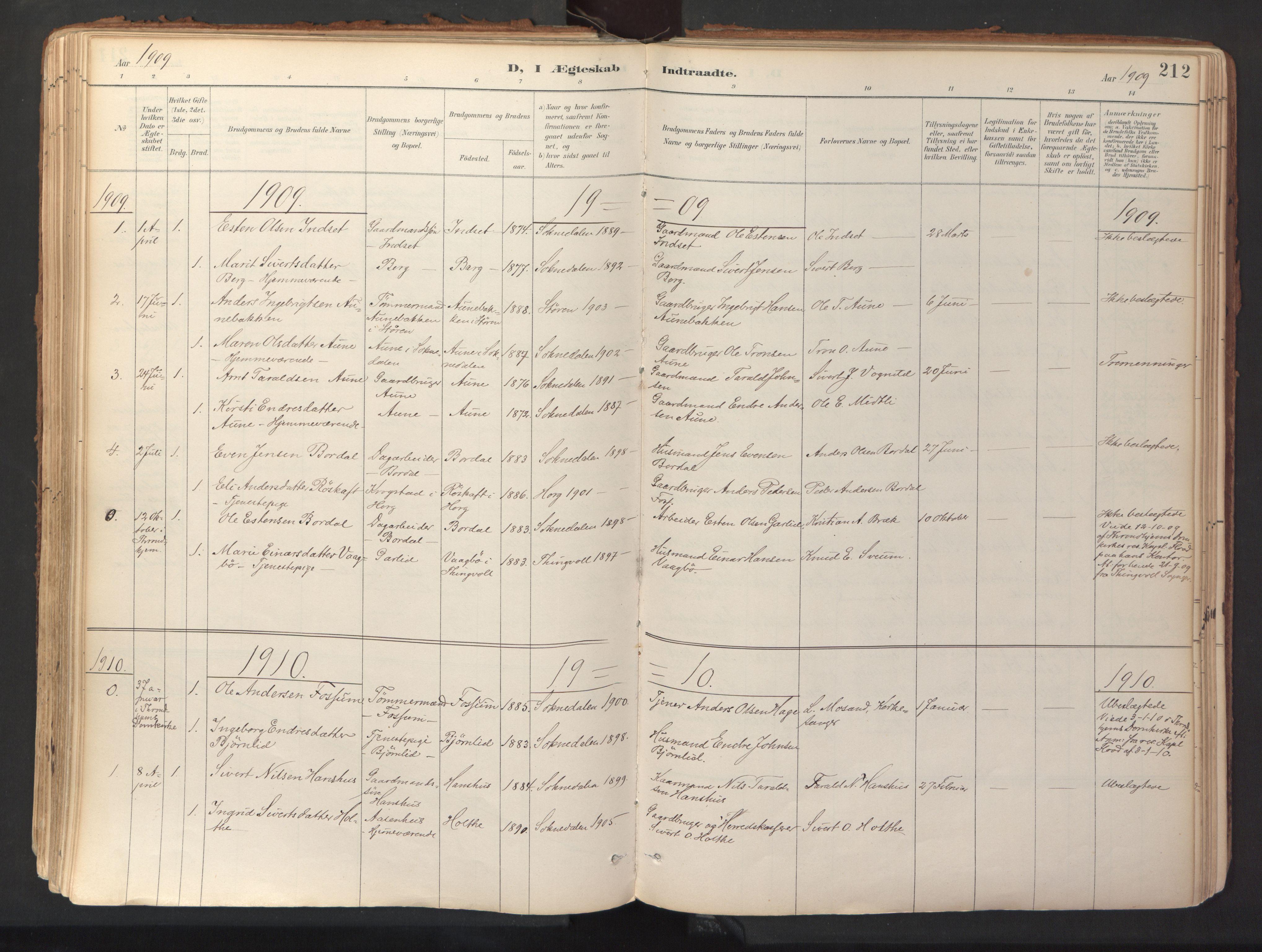 SAT, Ministerialprotokoller, klokkerbøker og fødselsregistre - Sør-Trøndelag, 689/L1041: Ministerialbok nr. 689A06, 1891-1923, s. 212