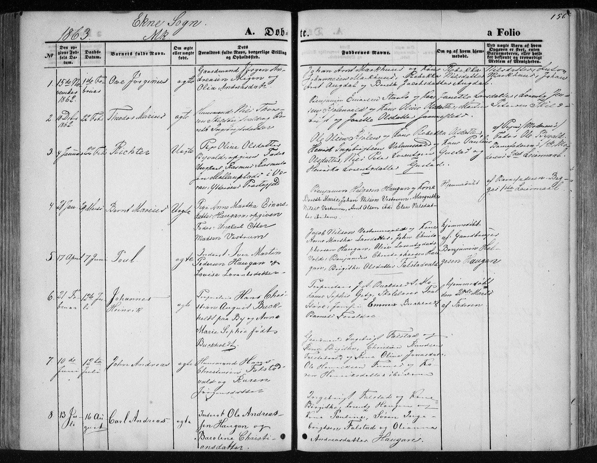SAT, Ministerialprotokoller, klokkerbøker og fødselsregistre - Nord-Trøndelag, 717/L0158: Ministerialbok nr. 717A08 /2, 1863-1877, s. 156