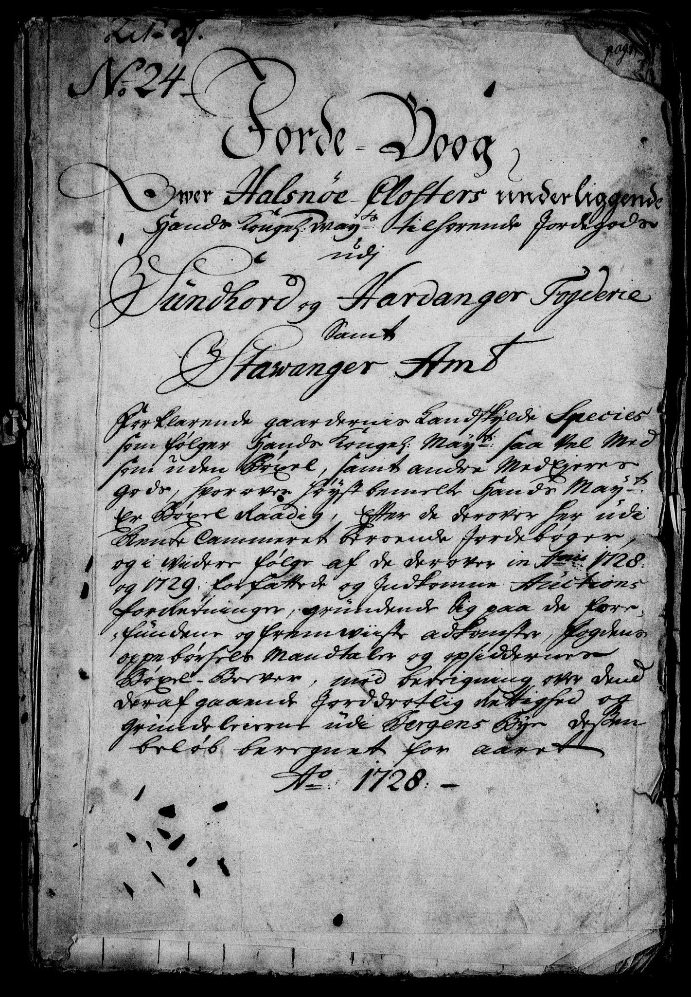 RA, Rentekammeret inntil 1814, Realistisk ordnet avdeling, On/L0003: [Jj 4]: Kommisjonsforretning over Vilhelm Hanssøns forpaktning av Halsnøy klosters gods, 1721-1729, s. 432
