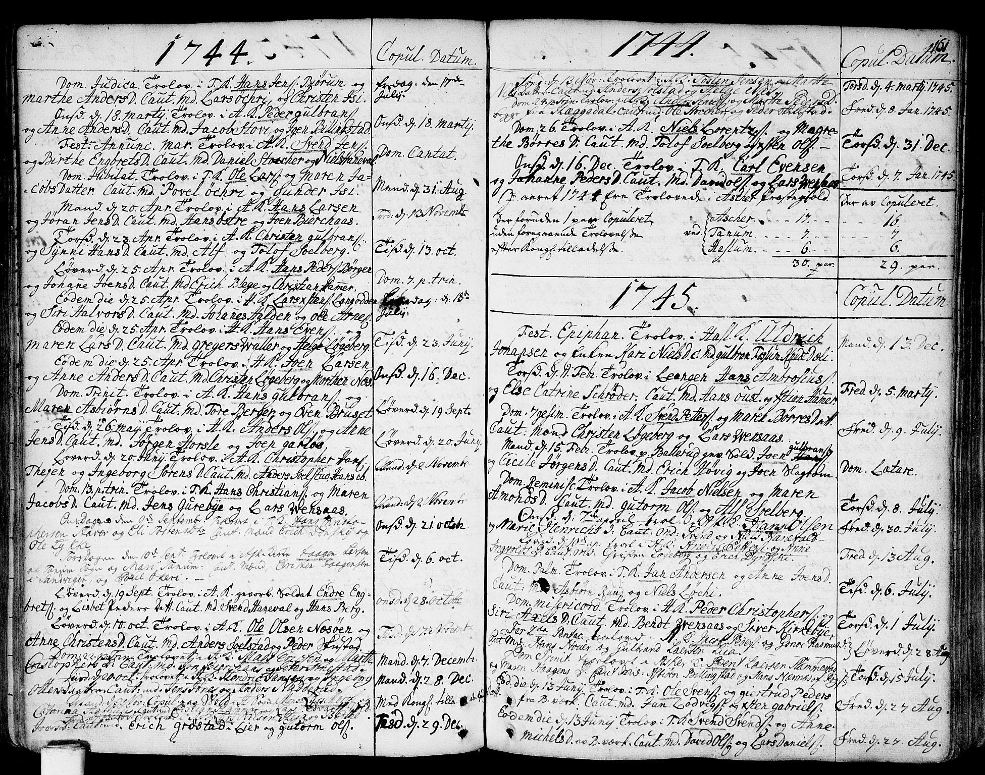 SAO, Asker prestekontor Kirkebøker, F/Fa/L0002: Ministerialbok nr. I 2, 1733-1766, s. 161