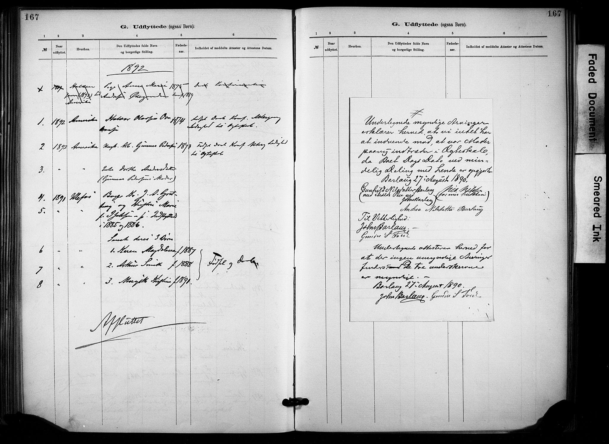 SAKO, Lunde kirkebøker, F/Fa/L0002: Ministerialbok nr. I 2, 1884-1892, s. 167