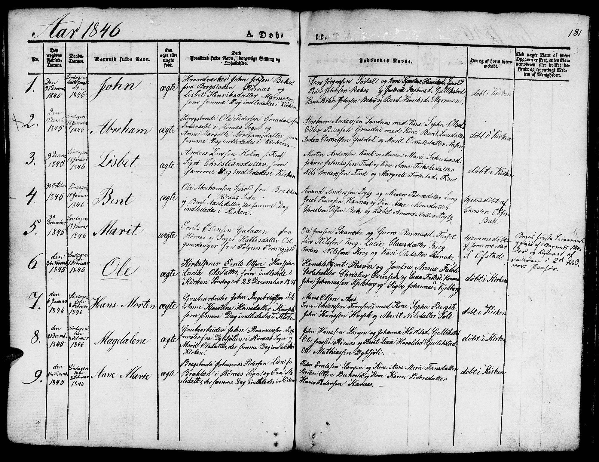 SAT, Ministerialprotokoller, klokkerbøker og fødselsregistre - Sør-Trøndelag, 681/L0938: Klokkerbok nr. 681C02, 1829-1879, s. 181
