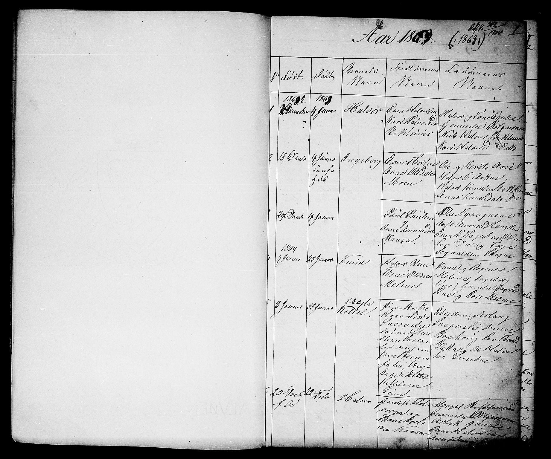 SAKO, Seljord kirkebøker, G/Gb/L0003: Klokkerbok nr. II 3, 1863-1884, s. 1