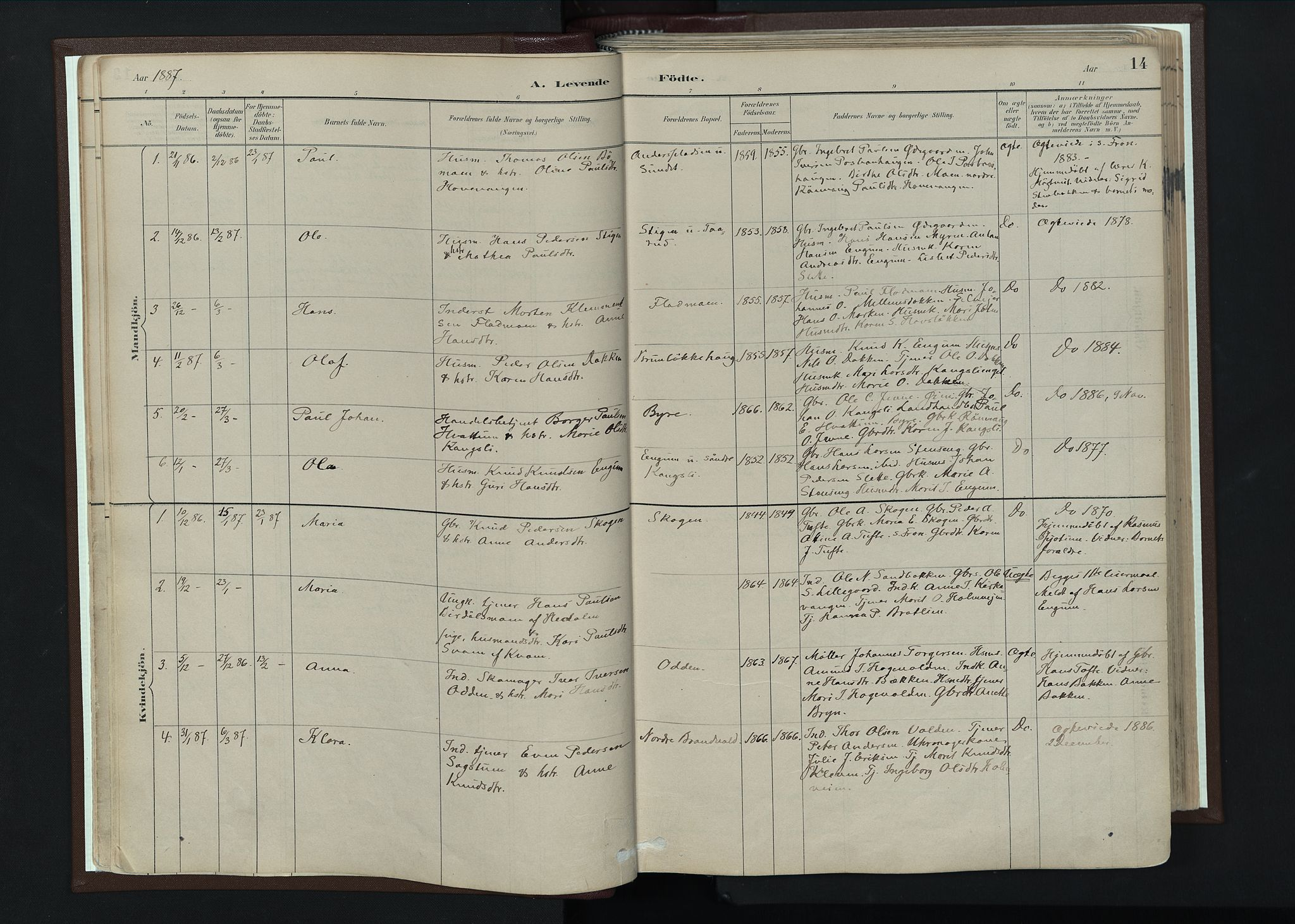 SAH, Nord-Fron prestekontor, Ministerialbok nr. 4, 1884-1914, s. 14
