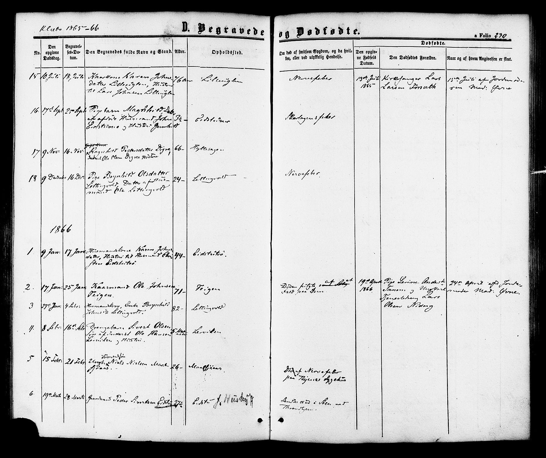 SAT, Ministerialprotokoller, klokkerbøker og fødselsregistre - Sør-Trøndelag, 618/L0442: Ministerialbok nr. 618A06 /1, 1863-1879, s. 230