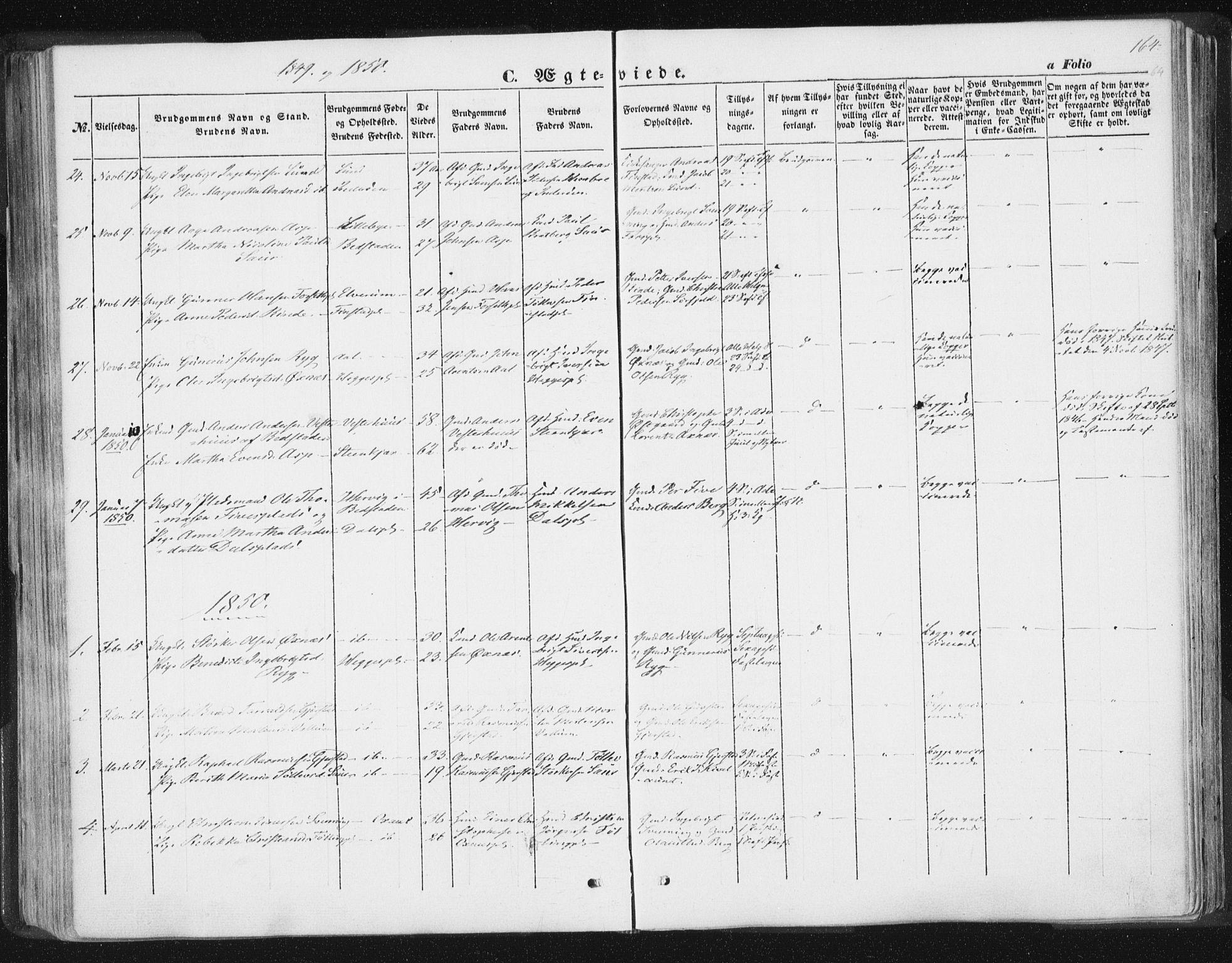 SAT, Ministerialprotokoller, klokkerbøker og fødselsregistre - Nord-Trøndelag, 746/L0446: Ministerialbok nr. 746A05, 1846-1859, s. 164
