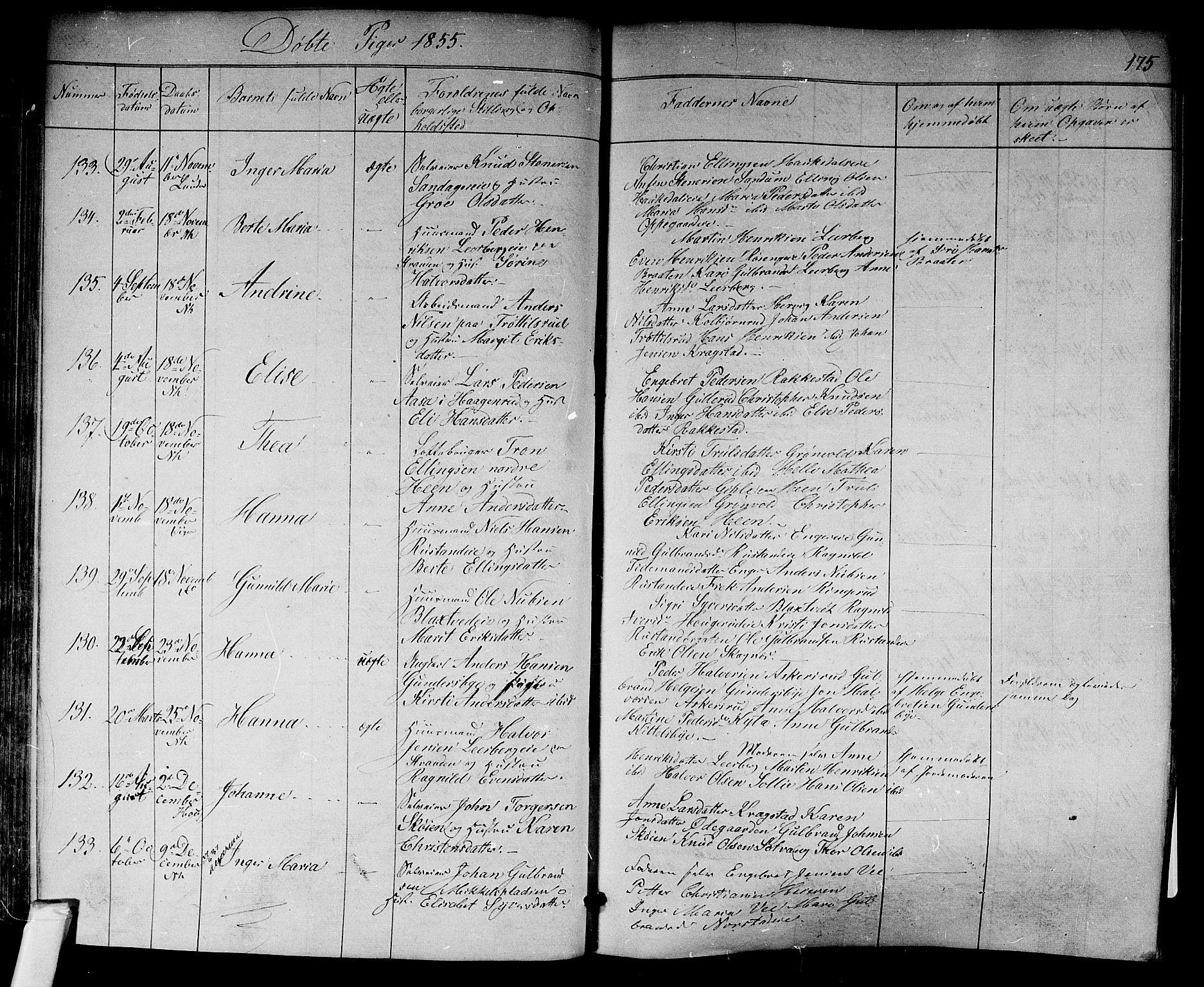 SAKO, Norderhov kirkebøker, F/Fa/L0011: Ministerialbok nr. 11, 1847-1856, s. 175