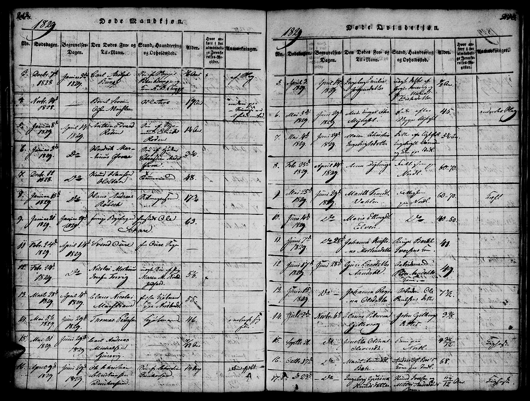 SAT, Ministerialprotokoller, klokkerbøker og fødselsregistre - Møre og Romsdal, 572/L0842: Ministerialbok nr. 572A05, 1819-1832, s. 212-213
