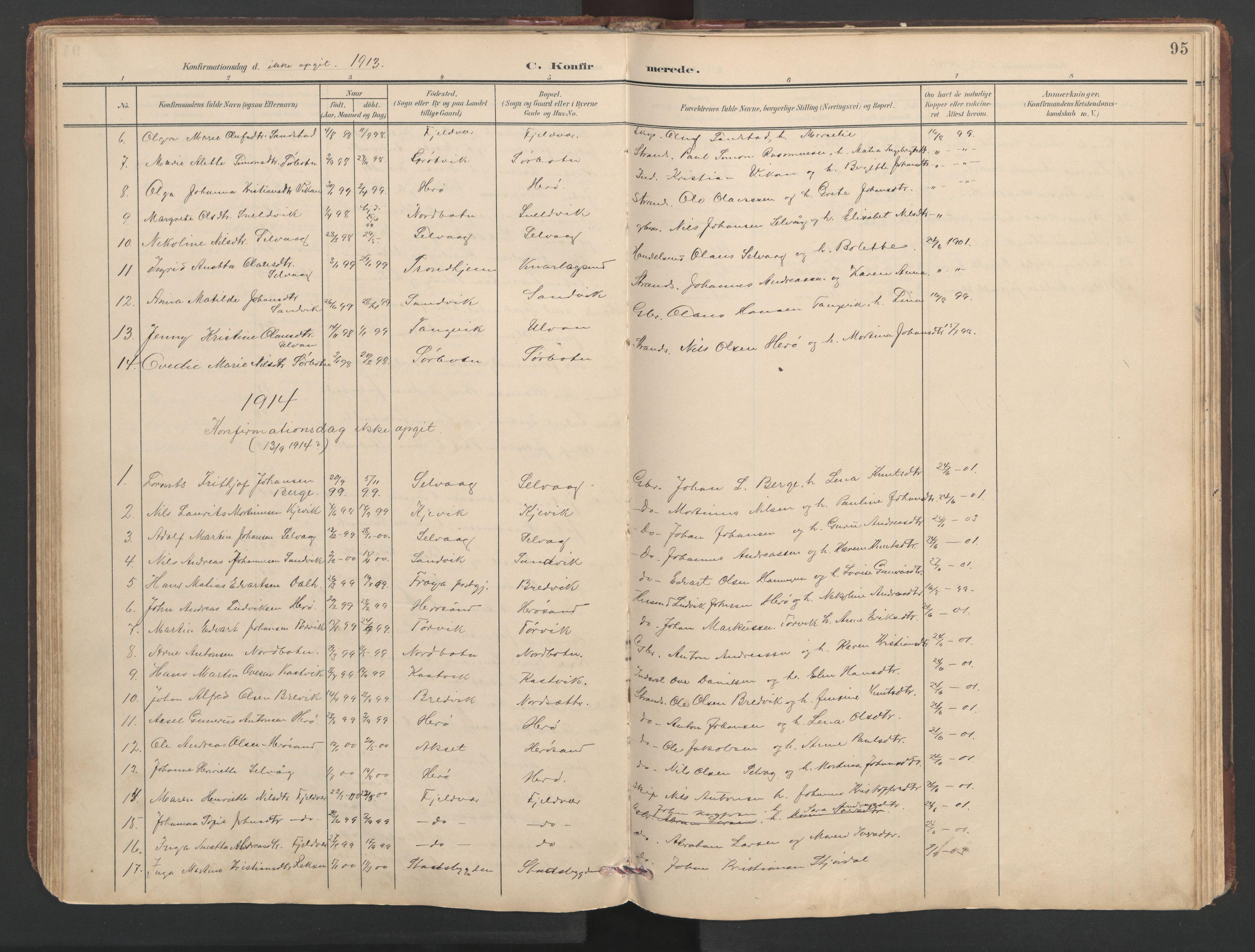 SAT, Ministerialprotokoller, klokkerbøker og fødselsregistre - Sør-Trøndelag, 638/L0571: Klokkerbok nr. 638C03, 1901-1930, s. 95