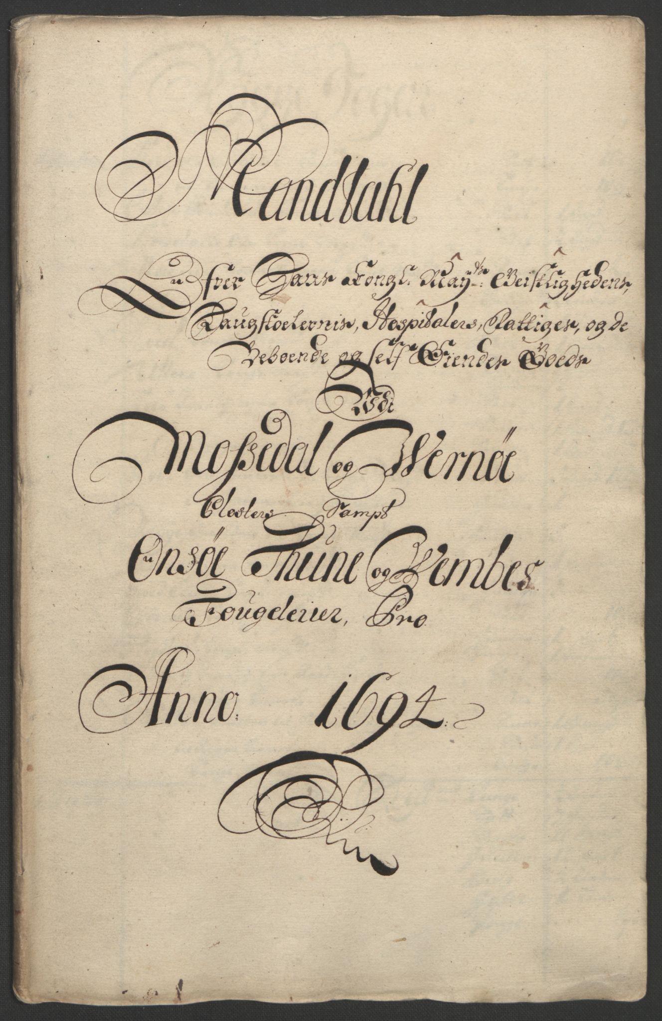 RA, Rentekammeret inntil 1814, Reviderte regnskaper, Fogderegnskap, R03/L0121: Fogderegnskap Onsøy, Tune, Veme og Åbygge fogderi, 1694, s. 198