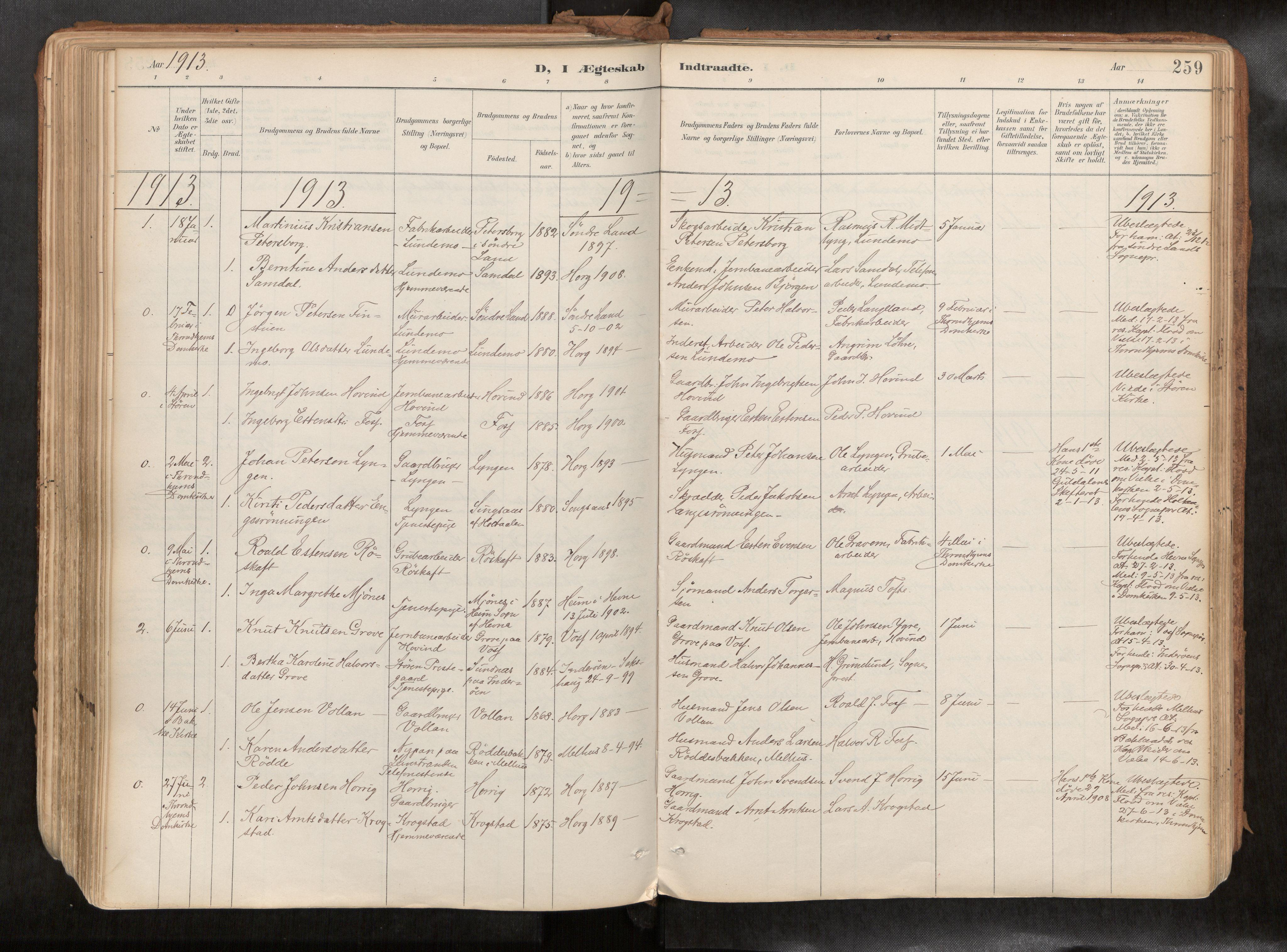 SAT, Ministerialprotokoller, klokkerbøker og fødselsregistre - Sør-Trøndelag, 692/L1105b: Ministerialbok nr. 692A06, 1891-1934, s. 259